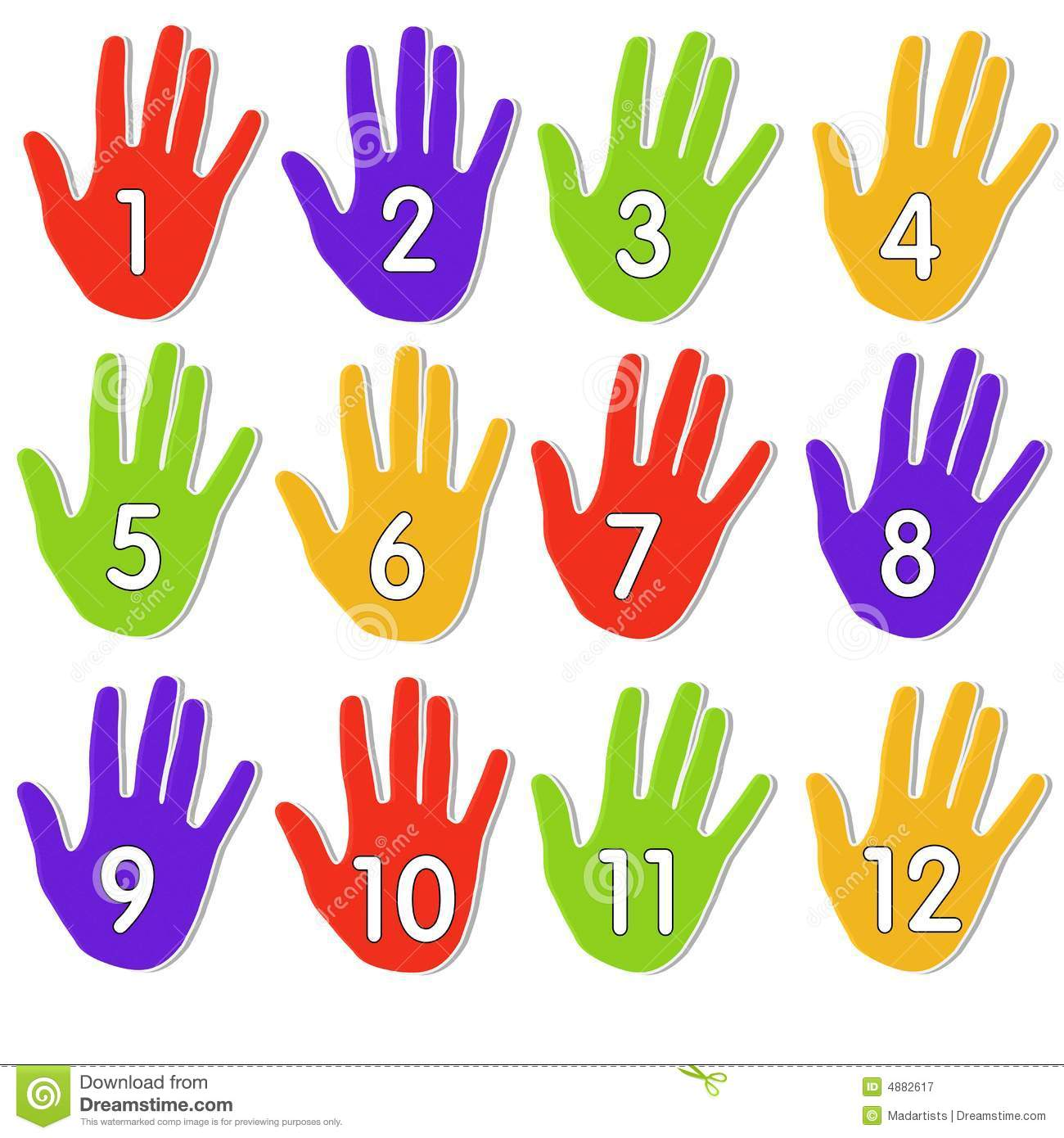 Colourful Numbered Hands Stock Illustration Illustration