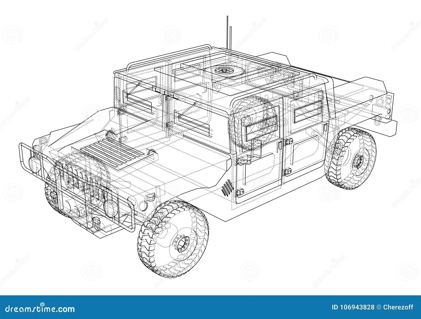 Combat Car Vector Rendering Of 3d Stock Vector