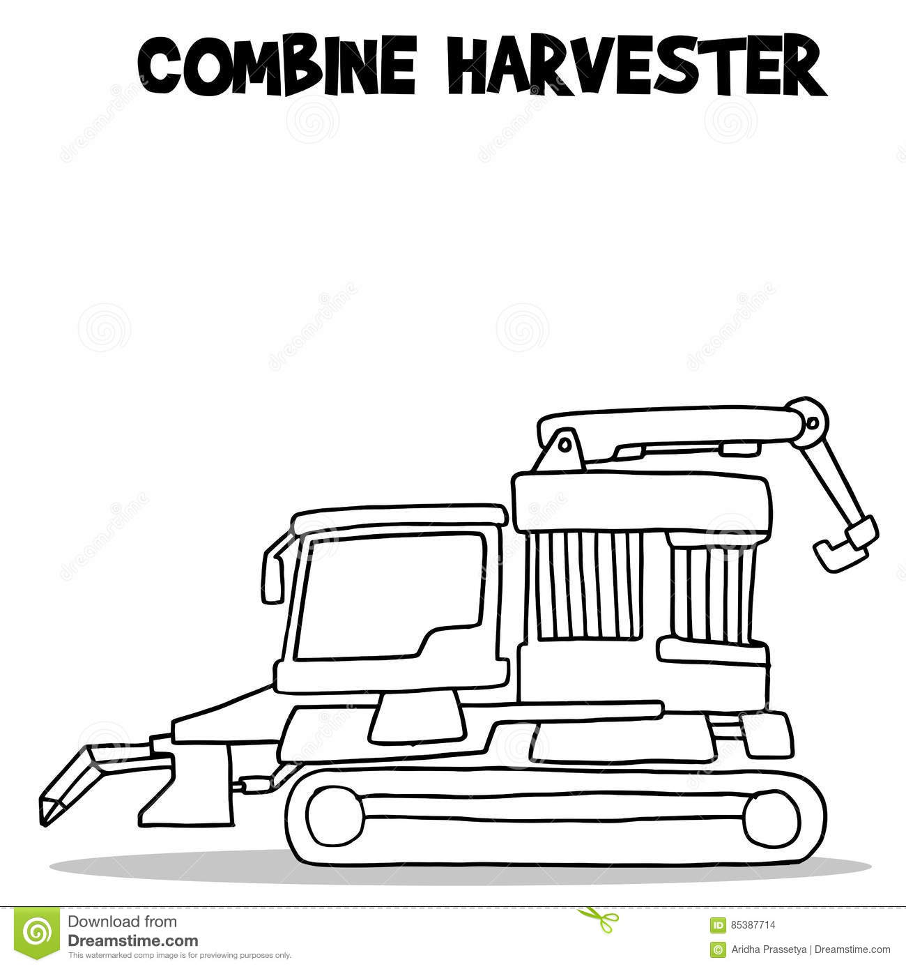 Combine Harvester Transport Hand Draw Stock Vector