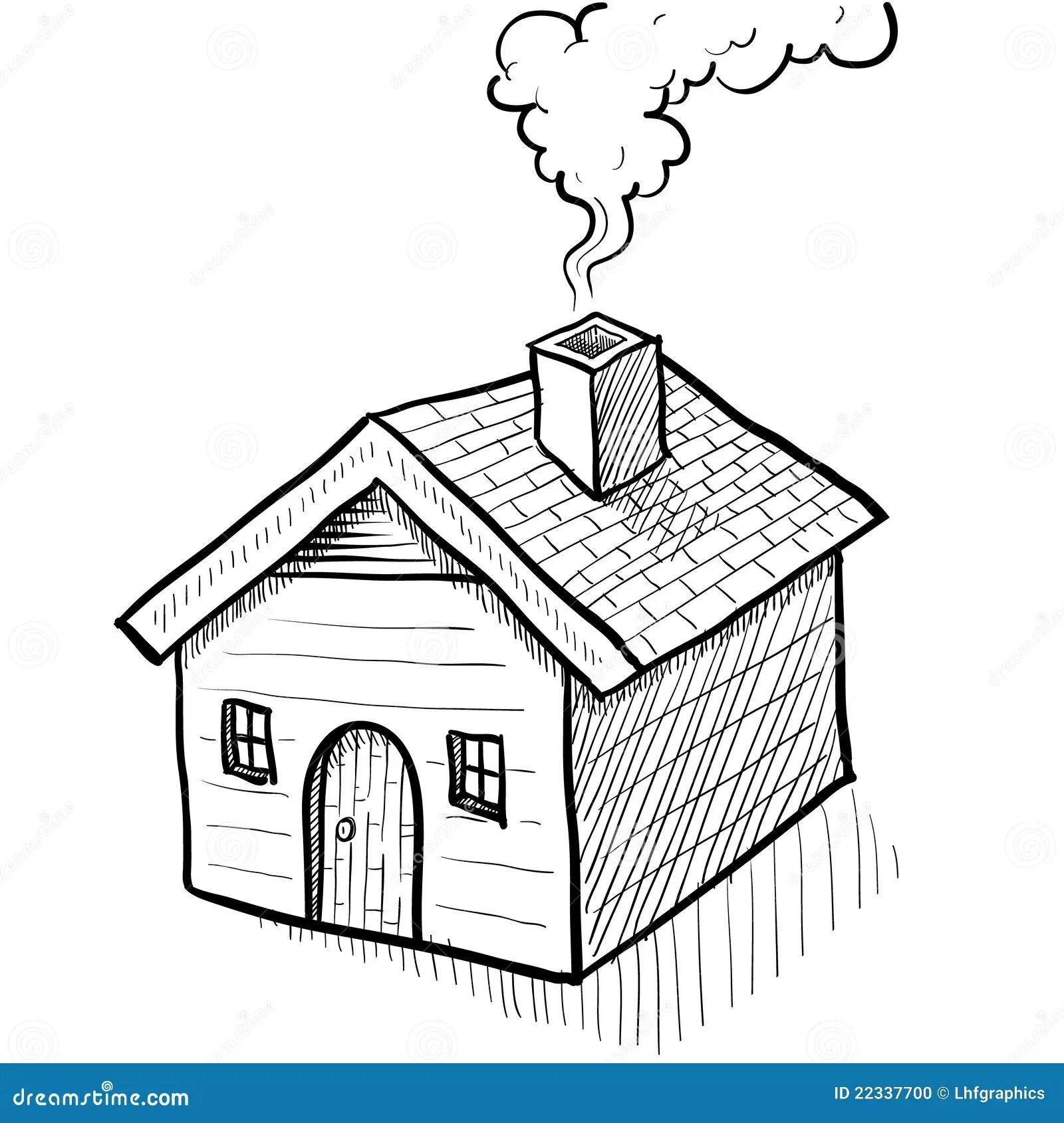 Comfy House Sketch Stock Vector Illustration Of Door