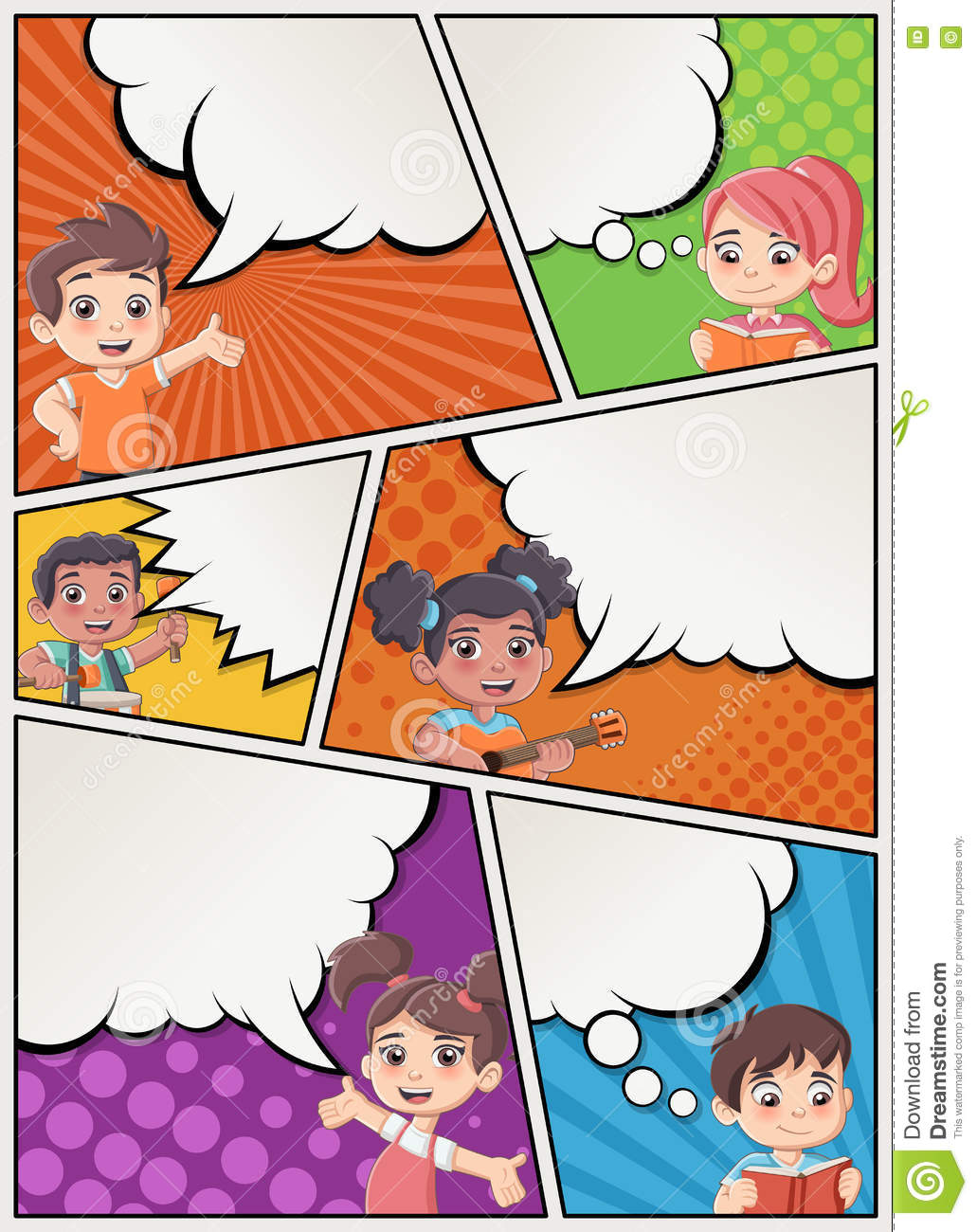 Comic Book Page With Children Talking Stock Vector