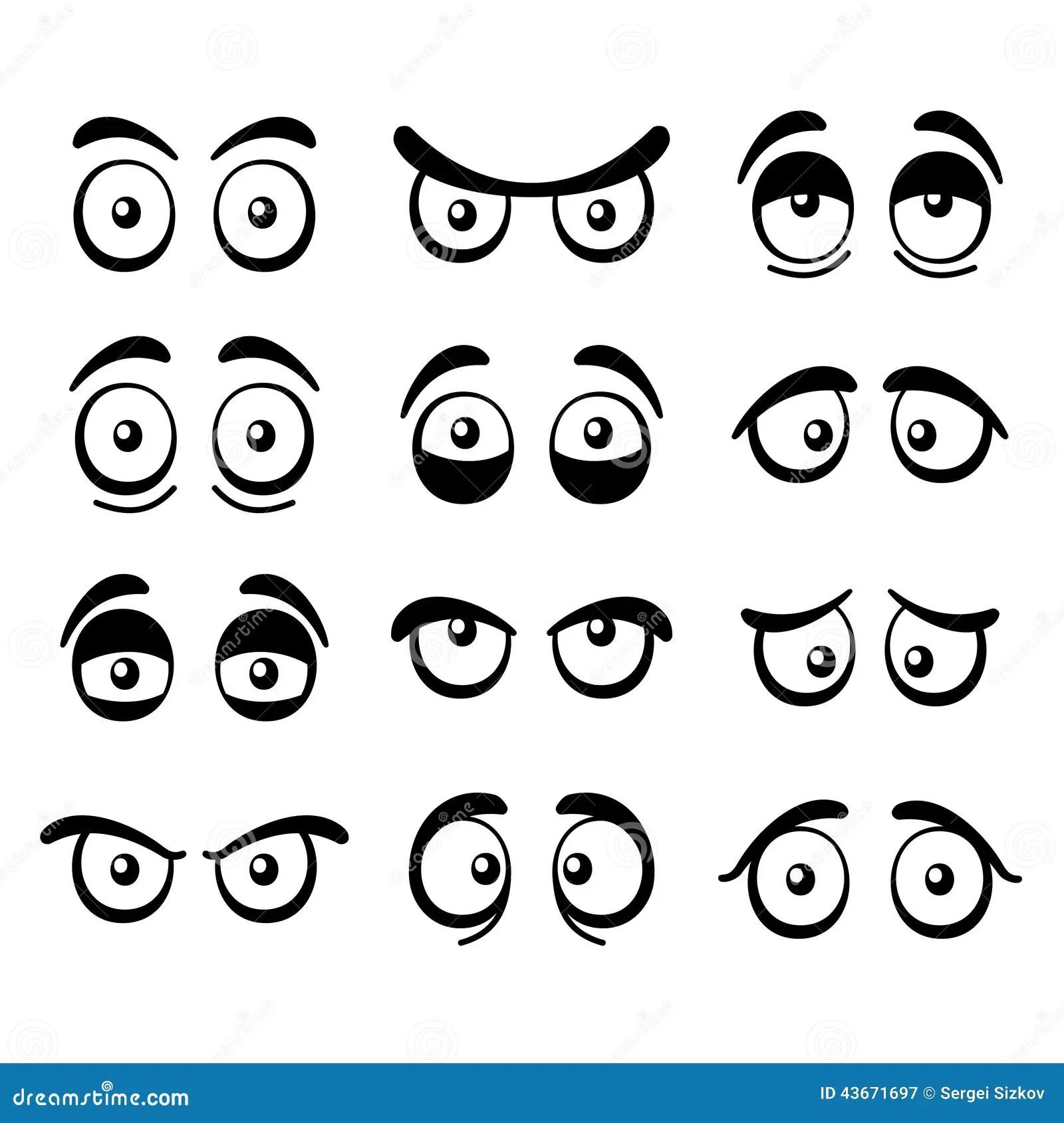 Comic Cartoon Eyes Set Vector Stock Vector
