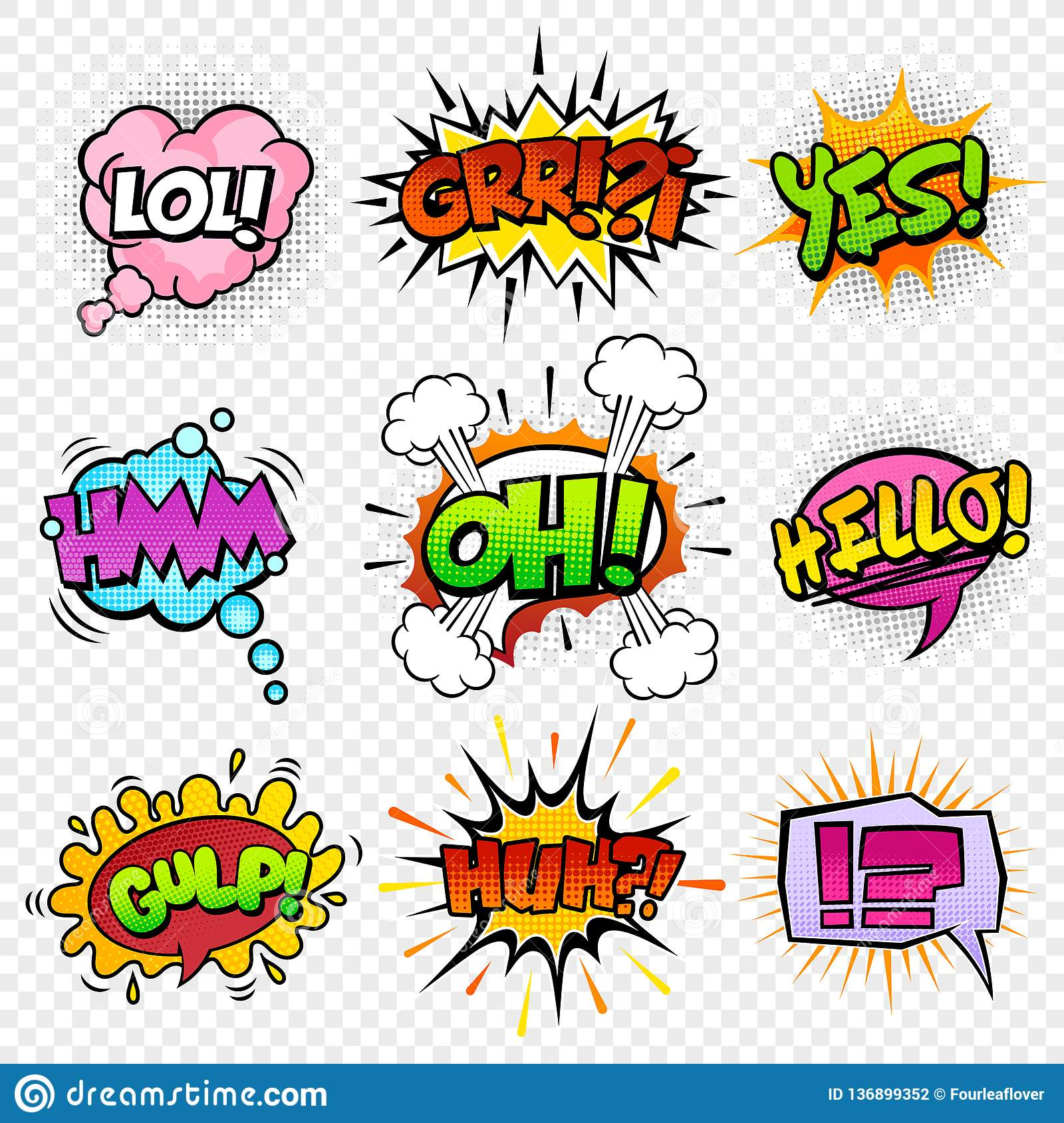 Comic Sounds Effects Set 4 Stock Vector Illustration Of