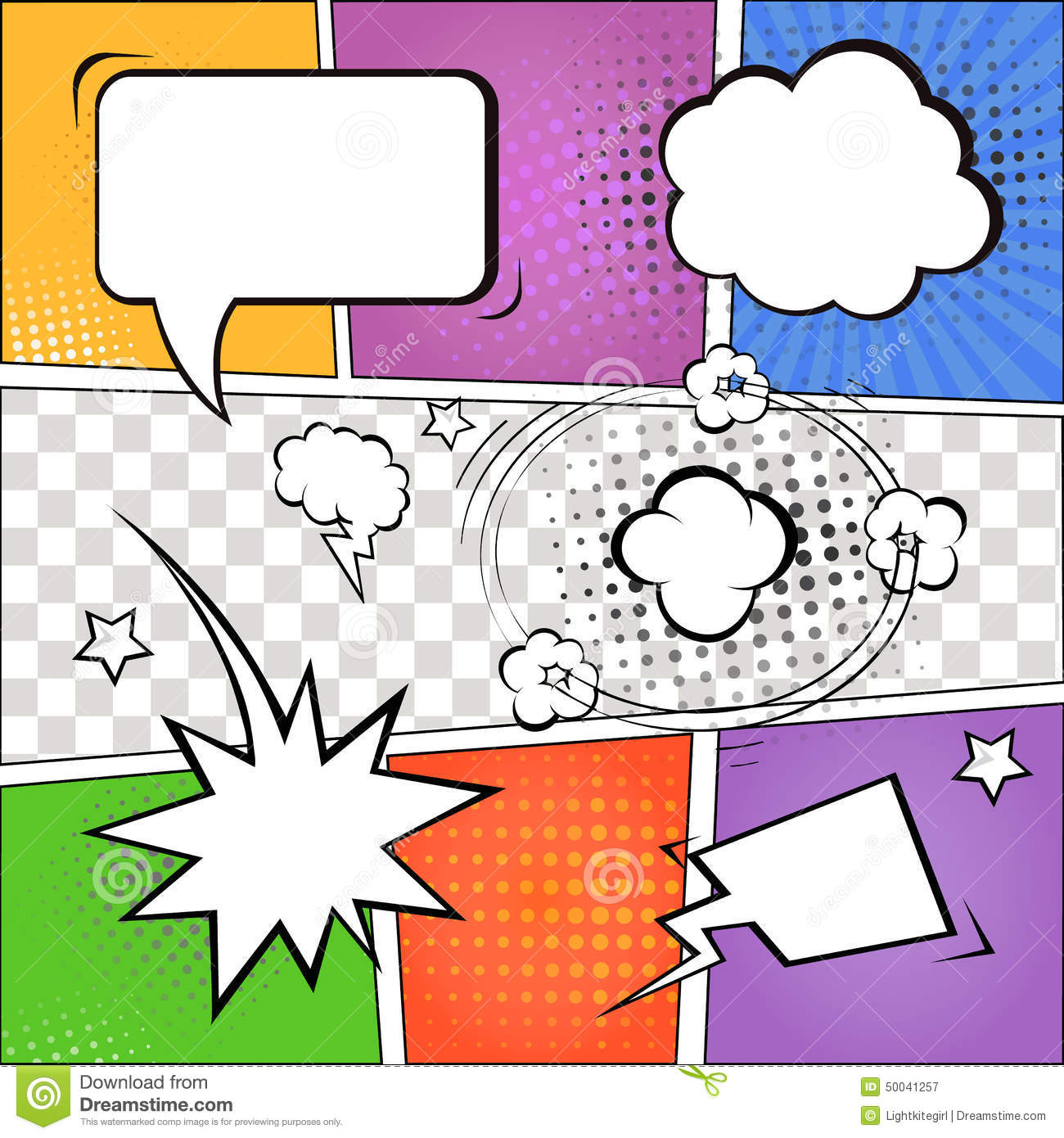 Comic Speech Bubbles And Comic Strip On Colorful Stock