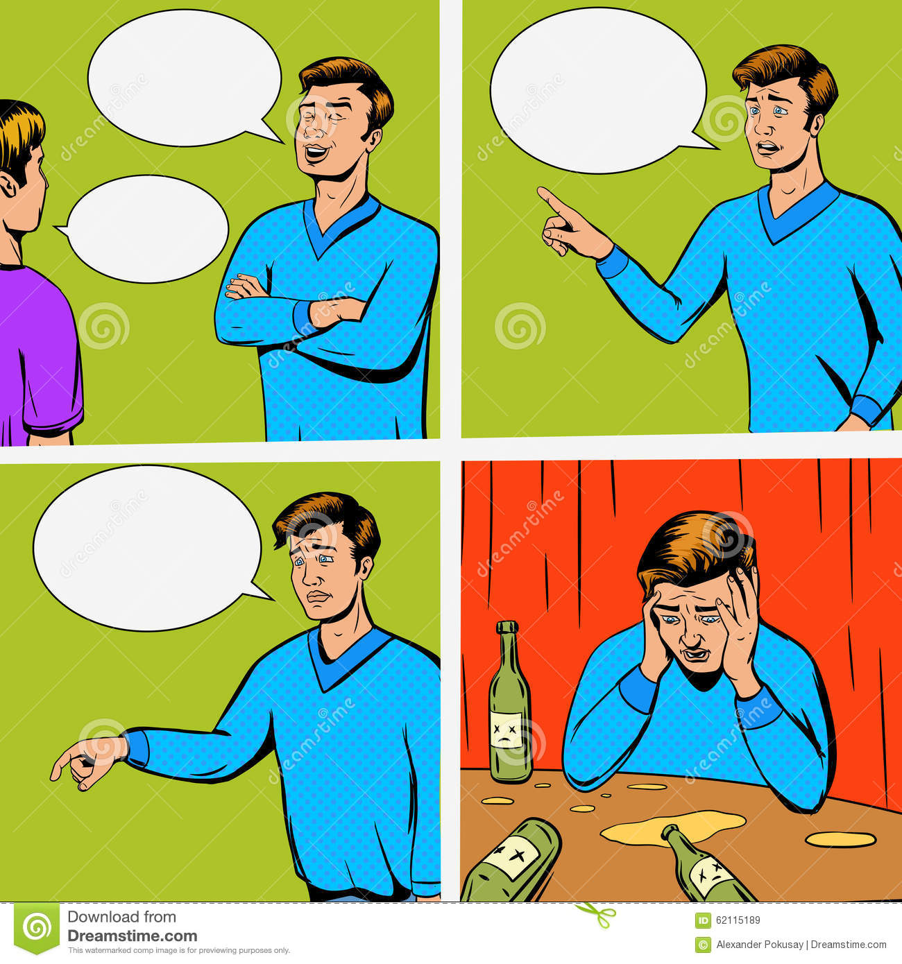 Comic Strip With Debate Of Two Persons Vector Stock Vector