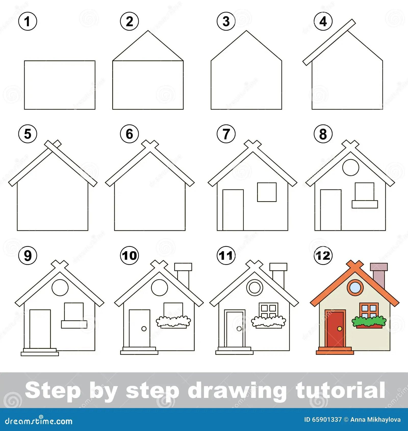 Comment Dessiner Toy House Illustration De Vecteur