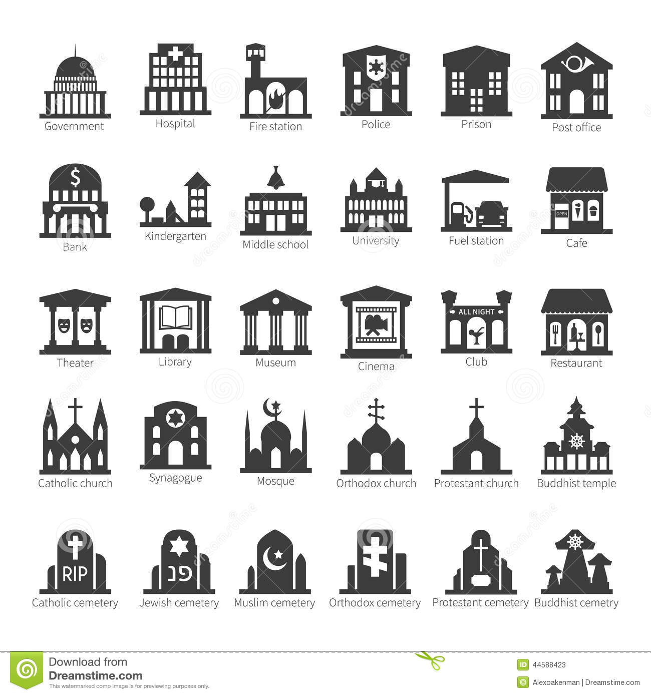 Common Buildings And Places Vector Icon Set Stock Vector