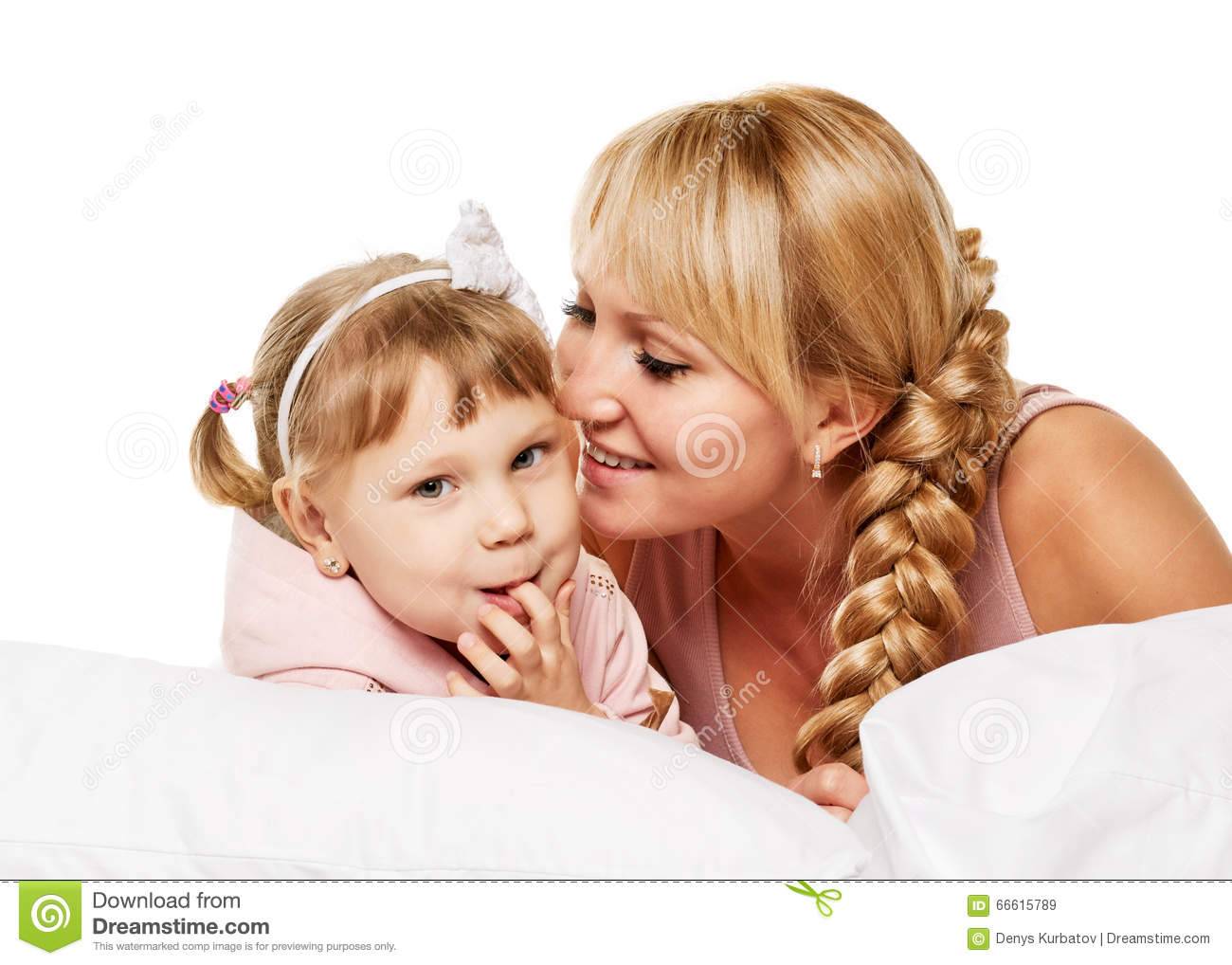 Communication Family Mother And Little Daughter Portrait
