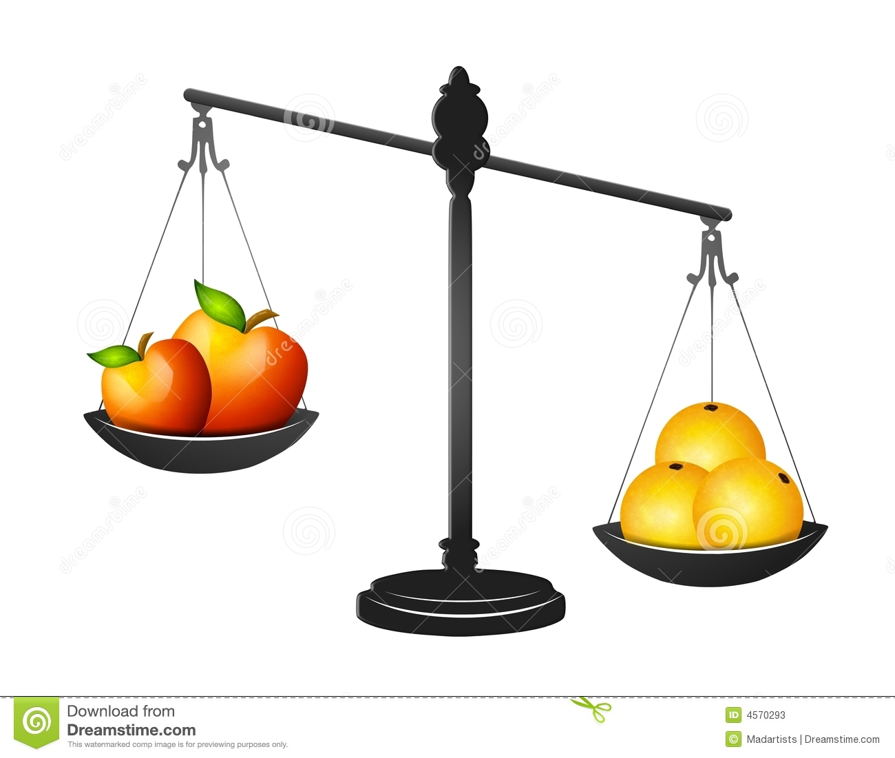 Comparing Apples And Oranges Stock Illustration