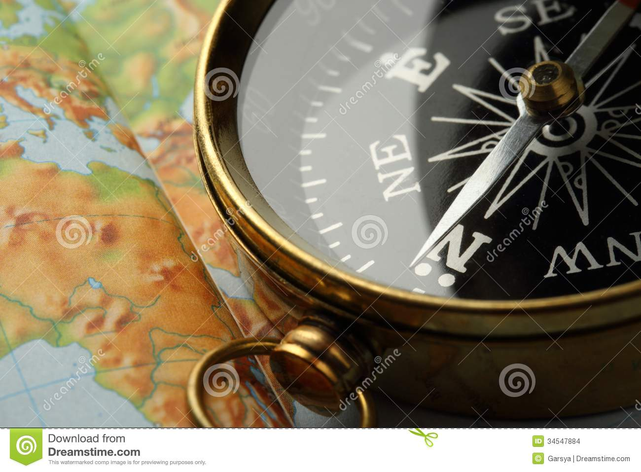 Compass On Map Stock Photo Image Of Nobody Color Scale