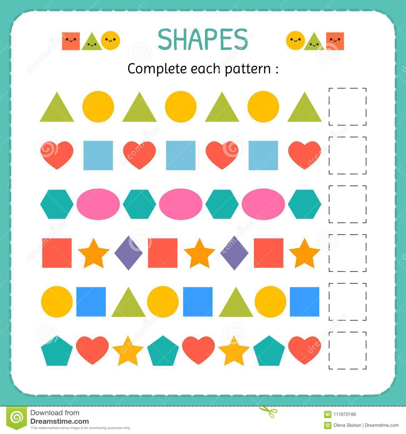Complete Each Pattern Learn Shapes And Geometric Figures