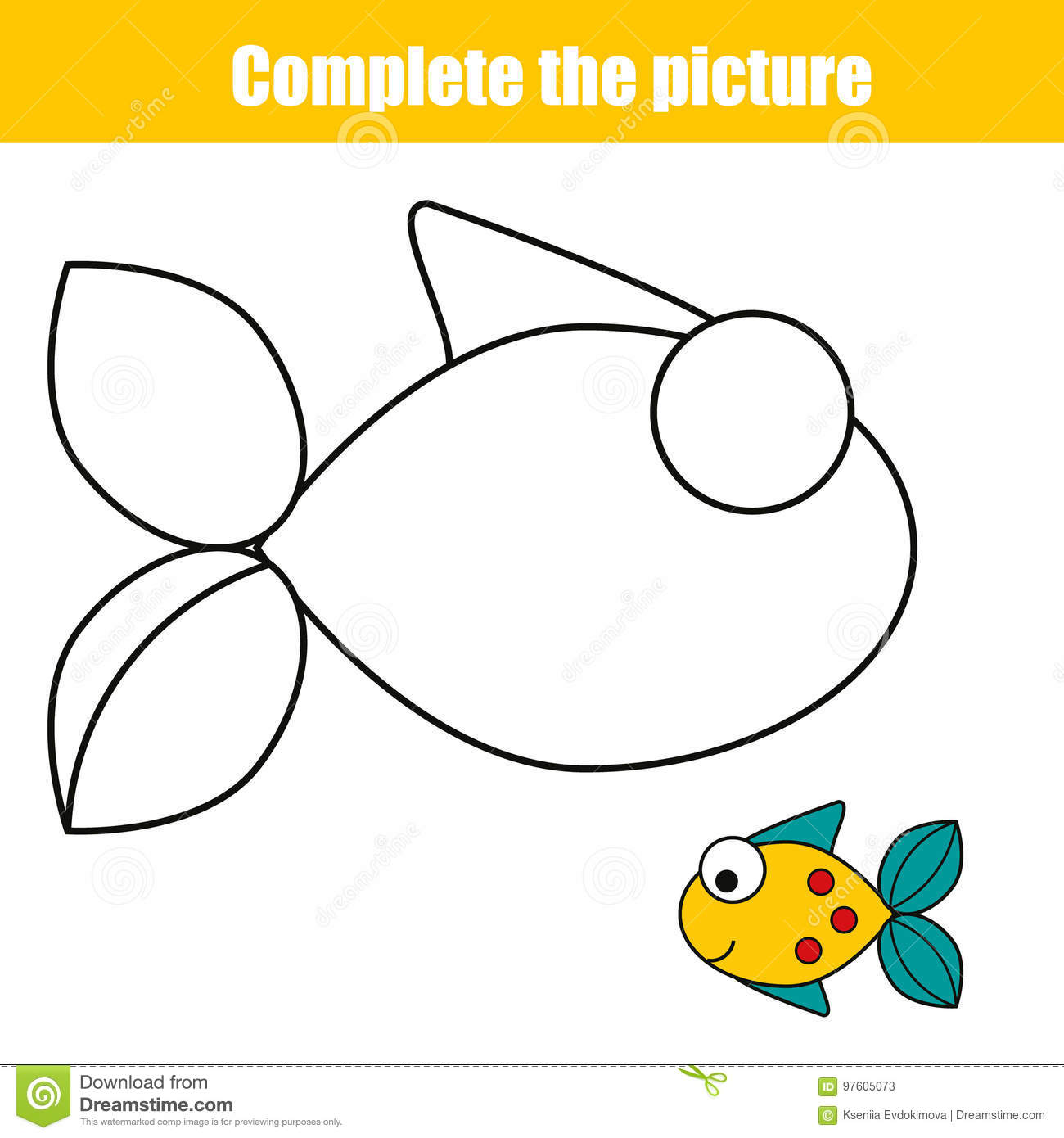 Complete The Picture Children Educational Game Coloring