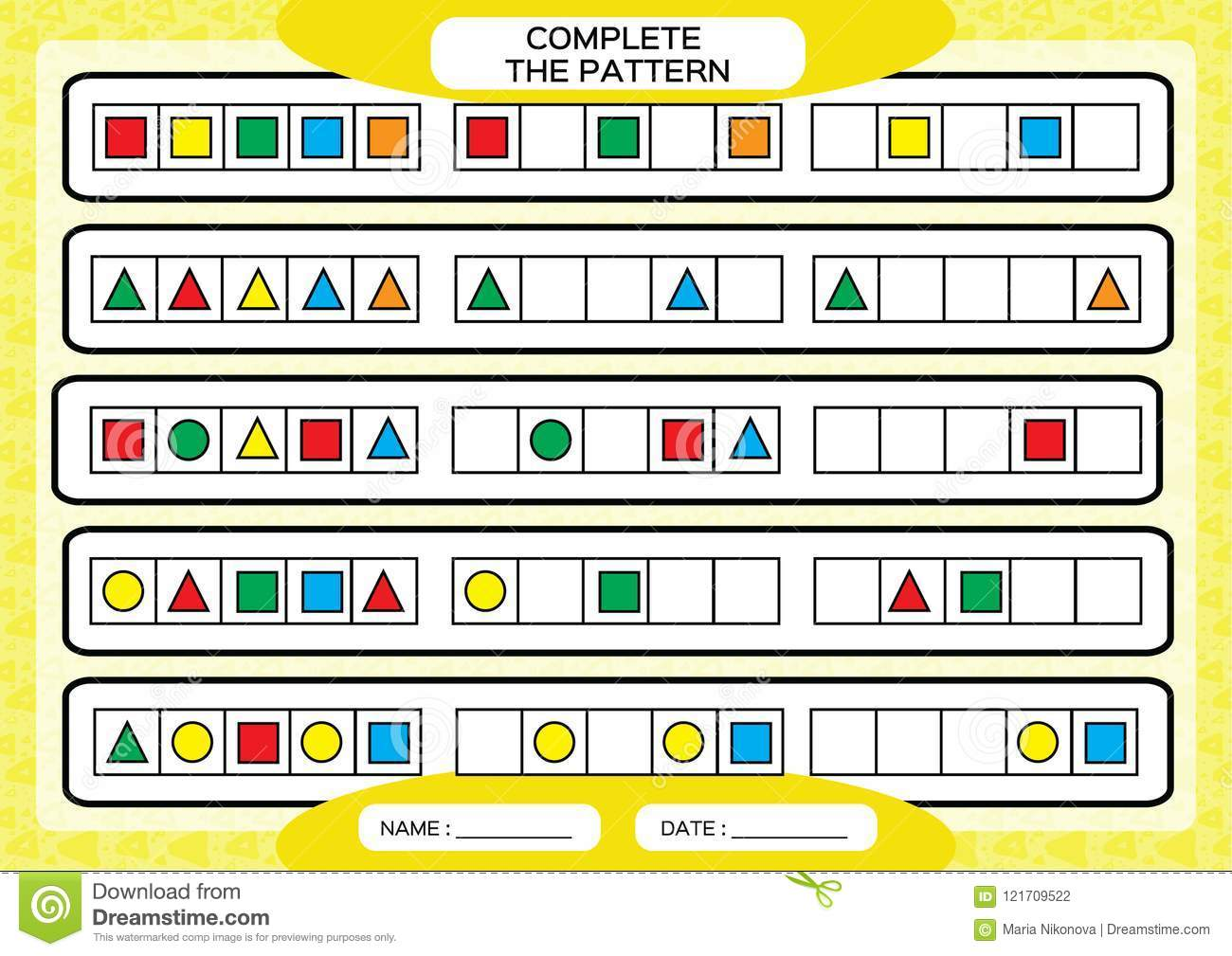 Complete Simple Repeating Patterns Worksheet For Preschool Kids Practicing Motor Skills