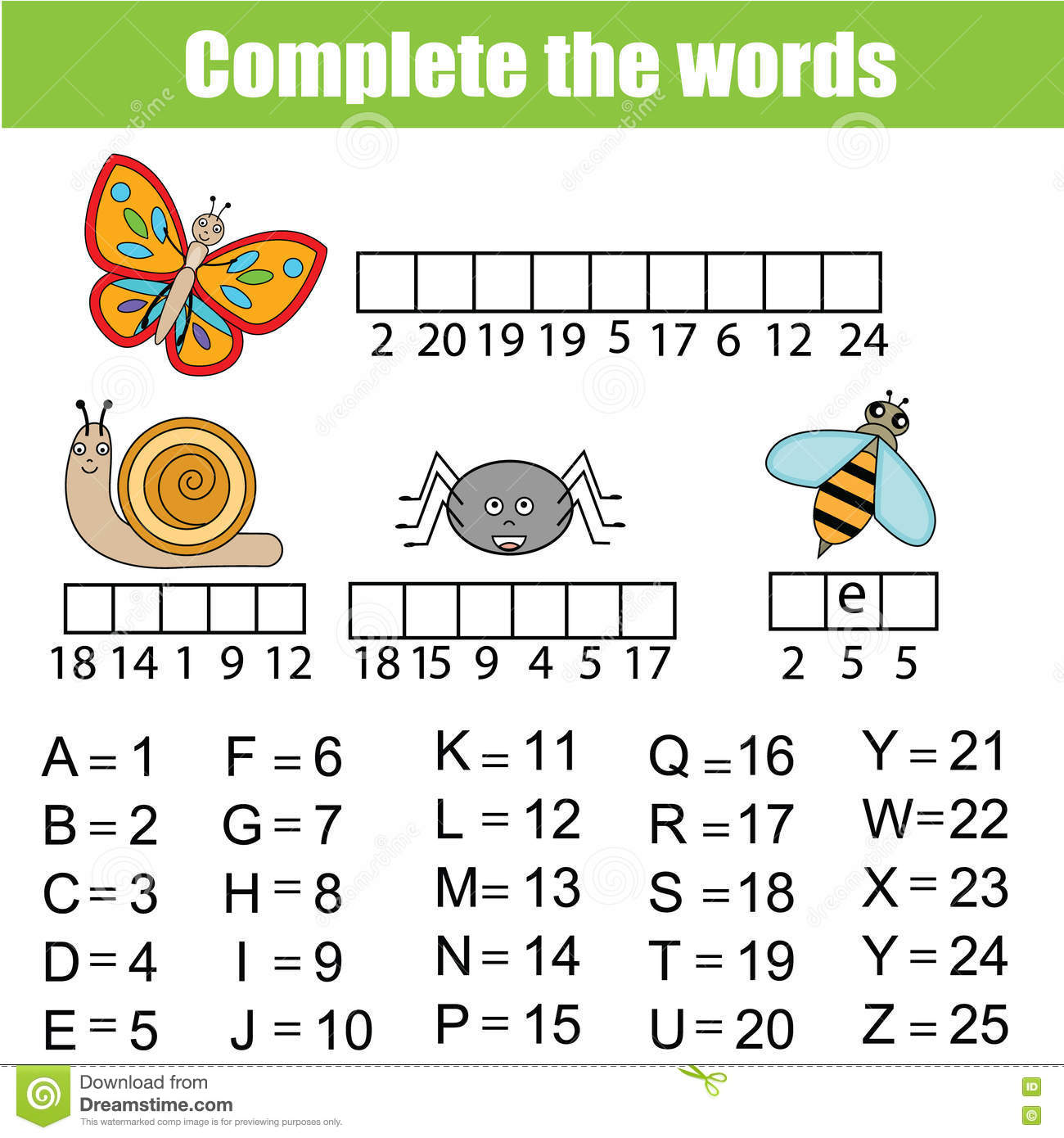 Complete The Words Children Educational Game Insects