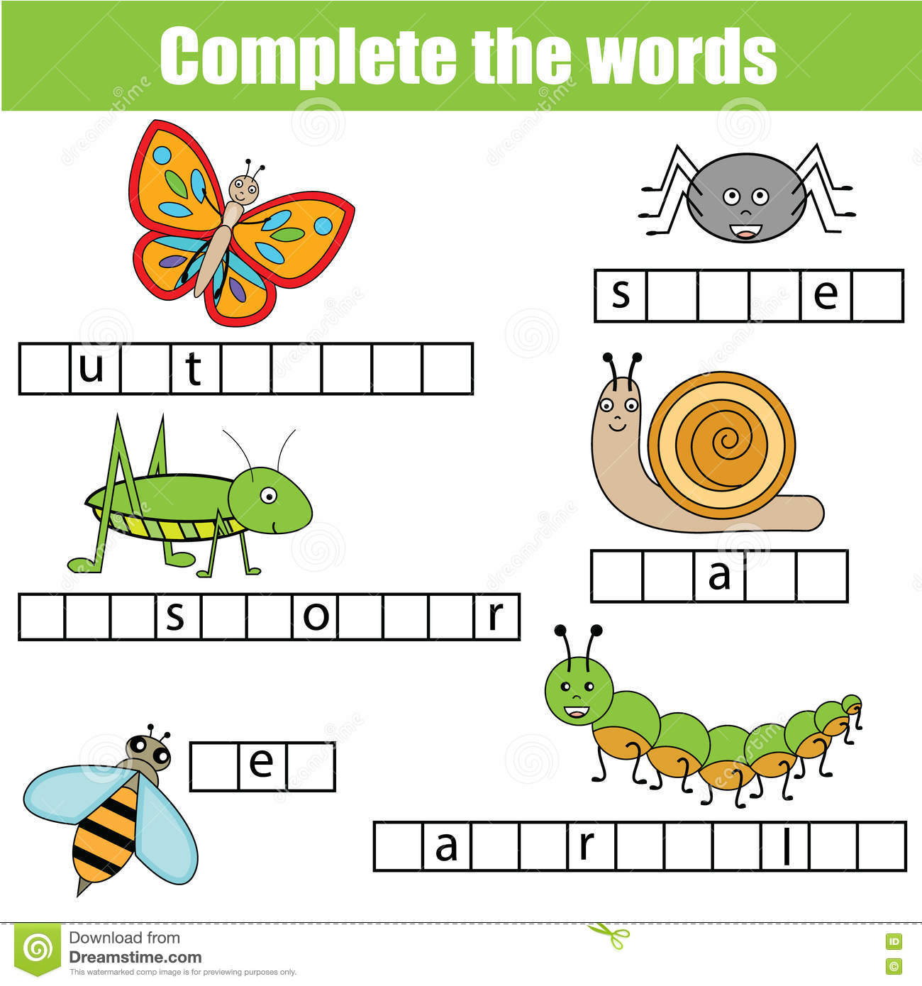 Insect Vocabulary Worksheet