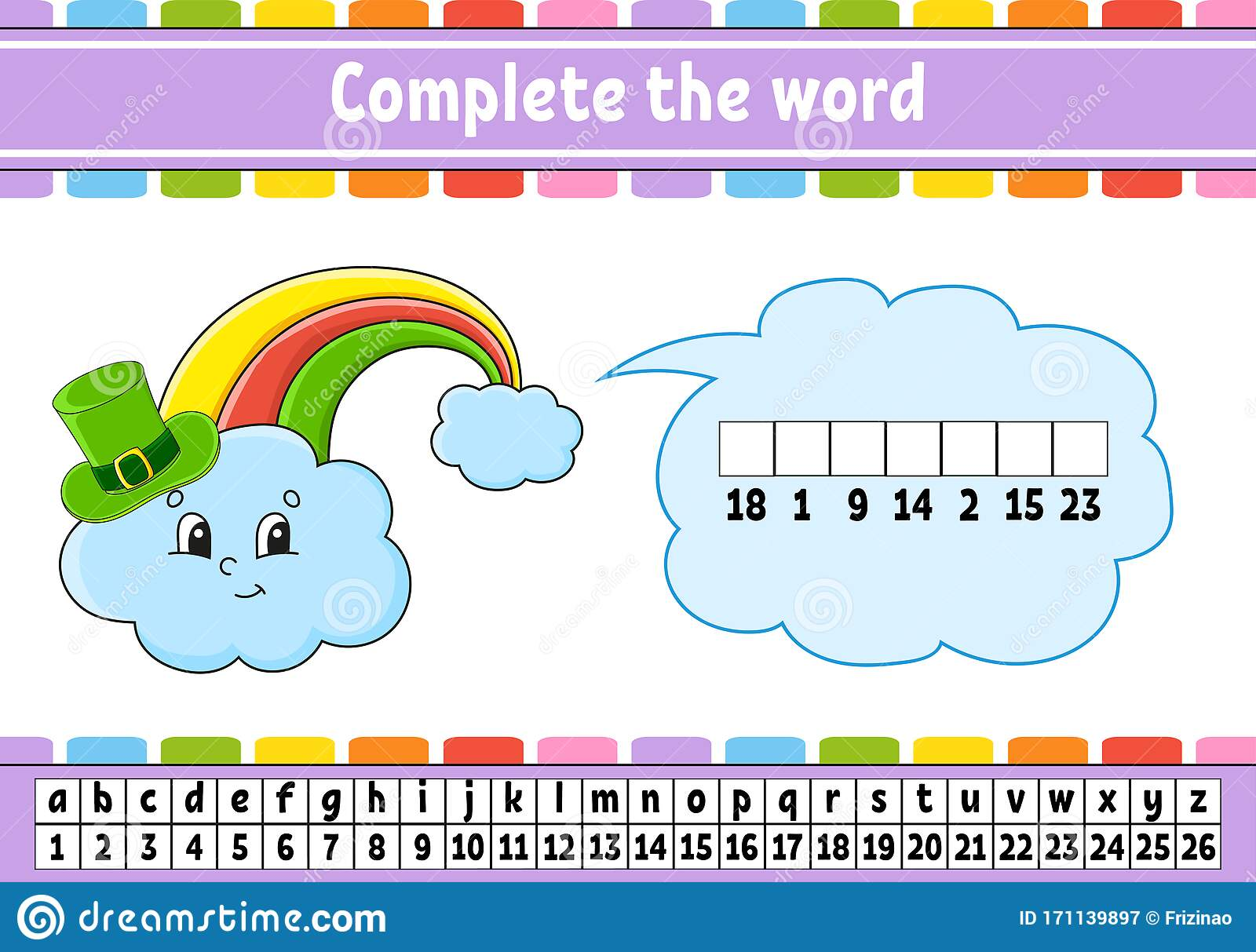 Complete The Words Rainbow In Hat Cipher Code Learning