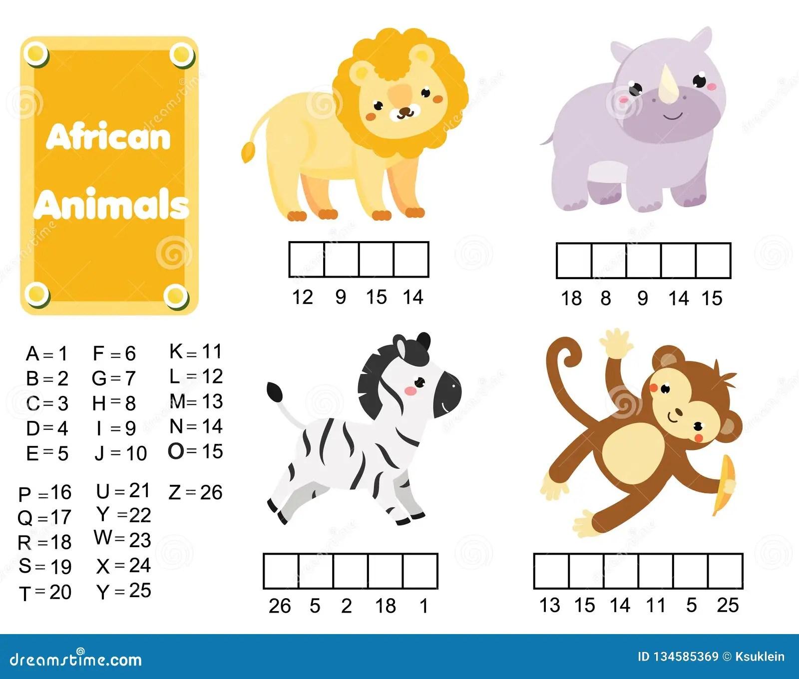 Completi Il Gioco Educativo Dei Bambini Di Parole Animali