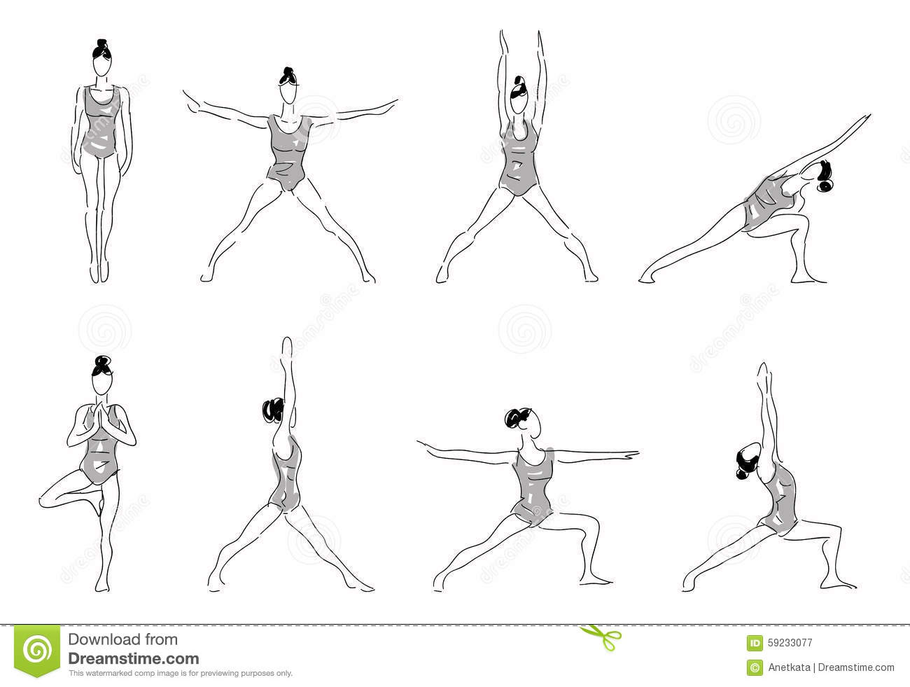 Complex Of Yoga Stretching Poses Stock Illustration