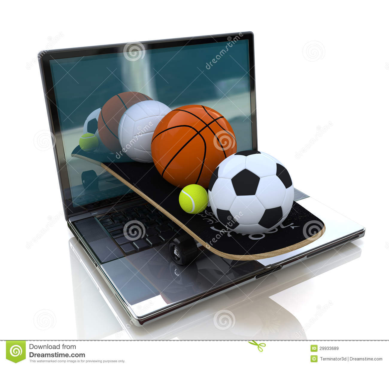 Computer And Balls Royalty Free Stock Images Image 29933689