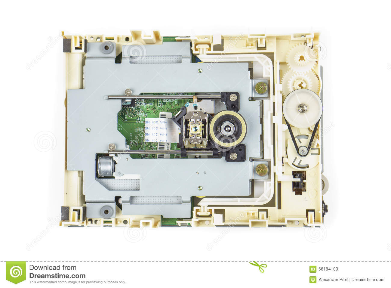 Computer Cd Rom Drive Disassembled 02 Stock Image