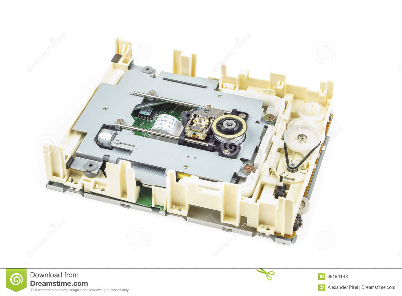 Computer Cd Rom Drive Disassembled 01 Stock Photo