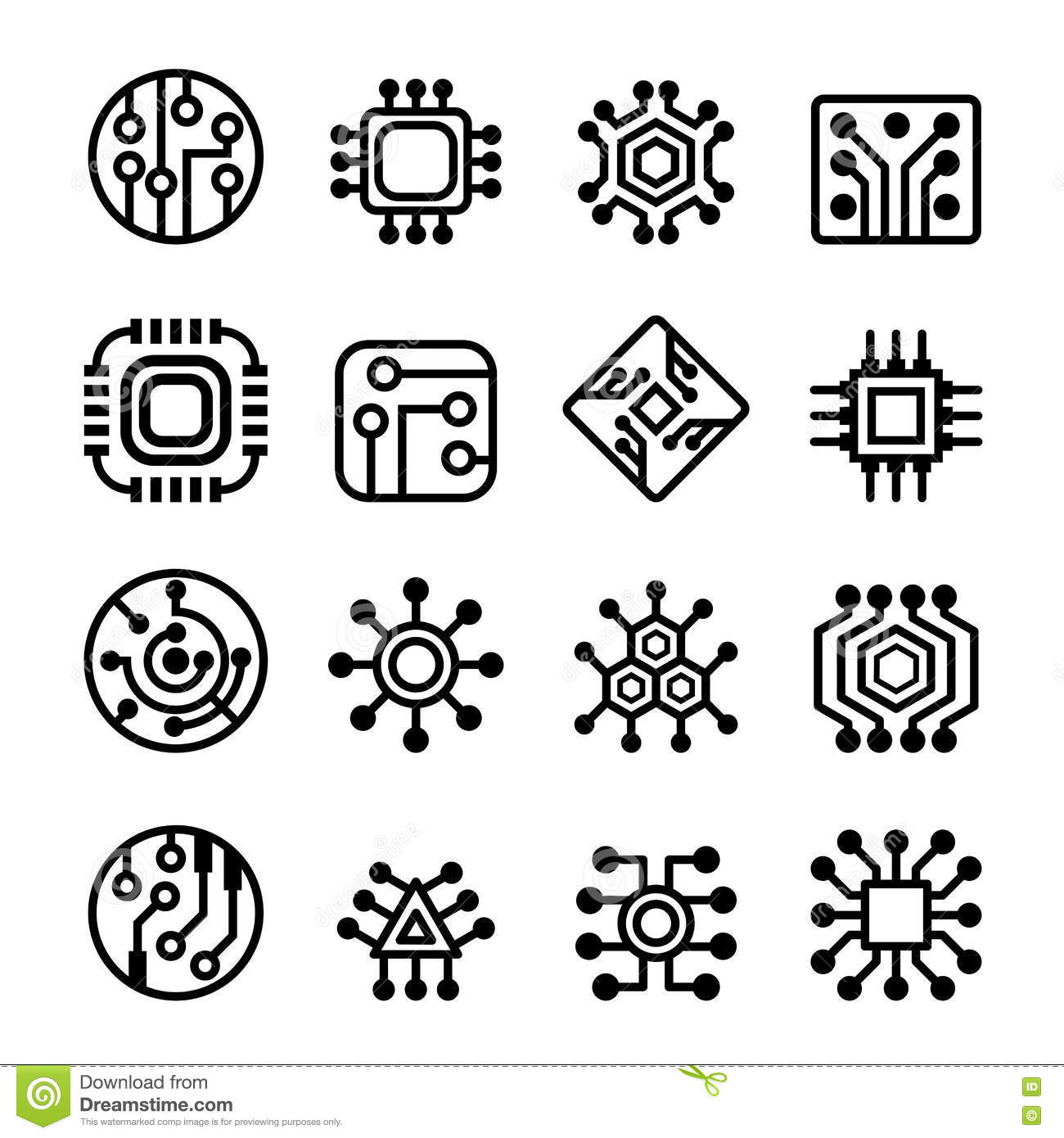 Computer Chips And Electronic Circuit Icons Set Stock