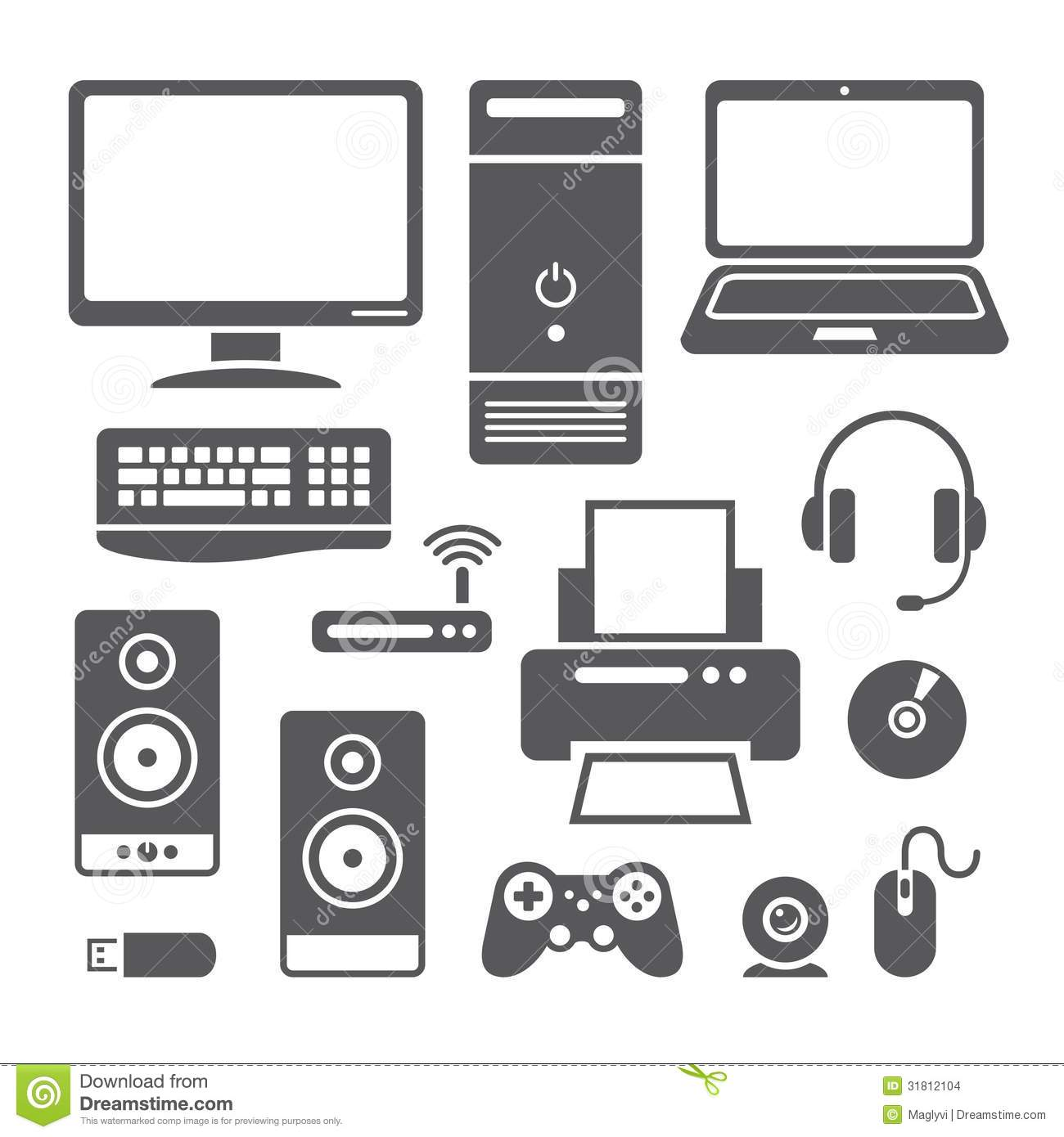Computer Devices Icons Stock Vector Image Of Symbols