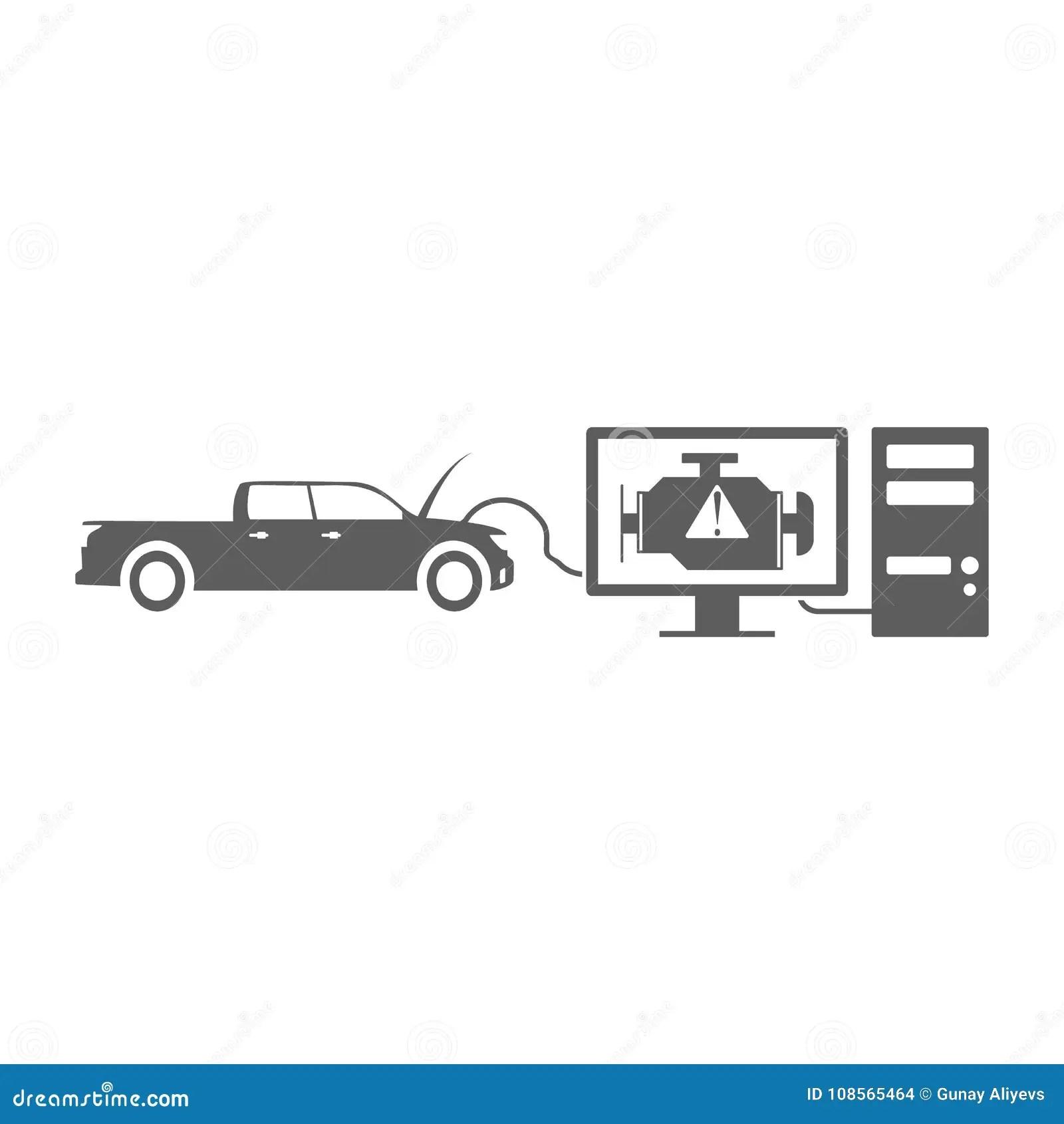 Computer Diagnostics Of A Car Icon Elements Of Car Repair