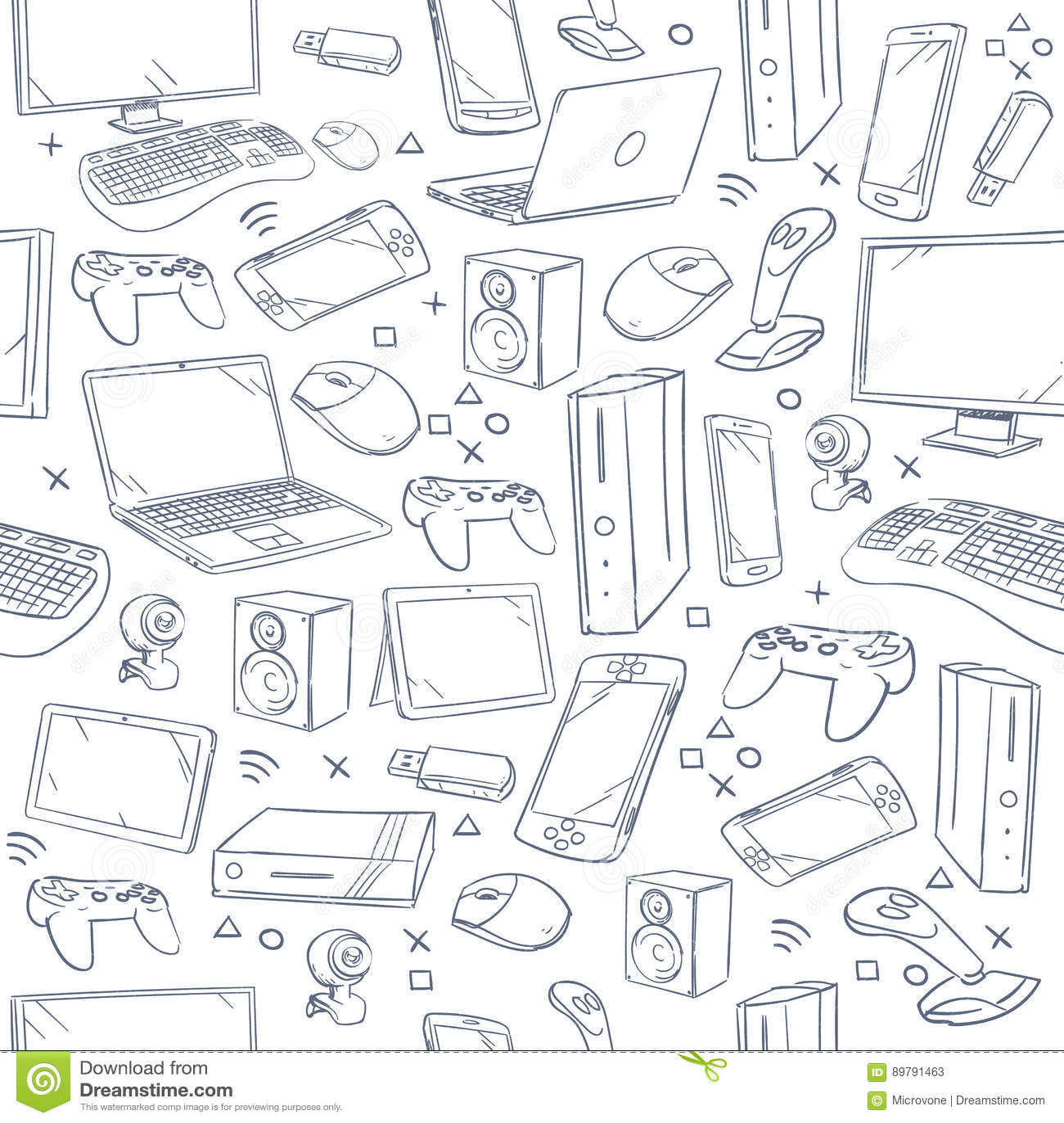 Computer Game Device Social Gaming Vector Sketch Doodles