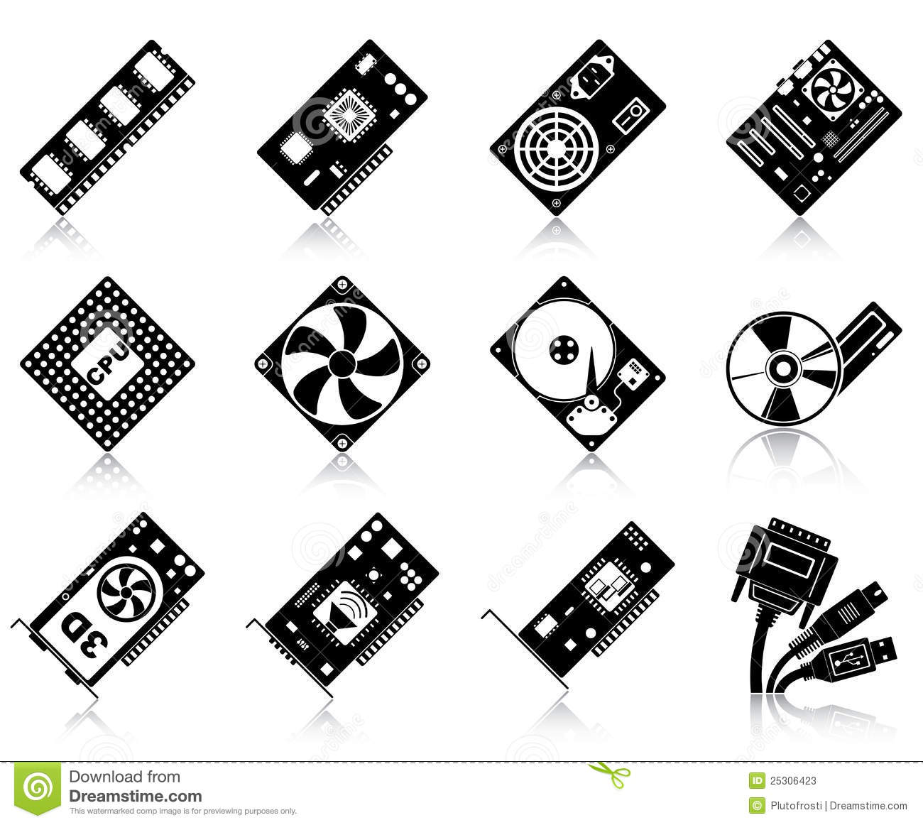 Computer Hardware Icons Stock Vector Illustration Of