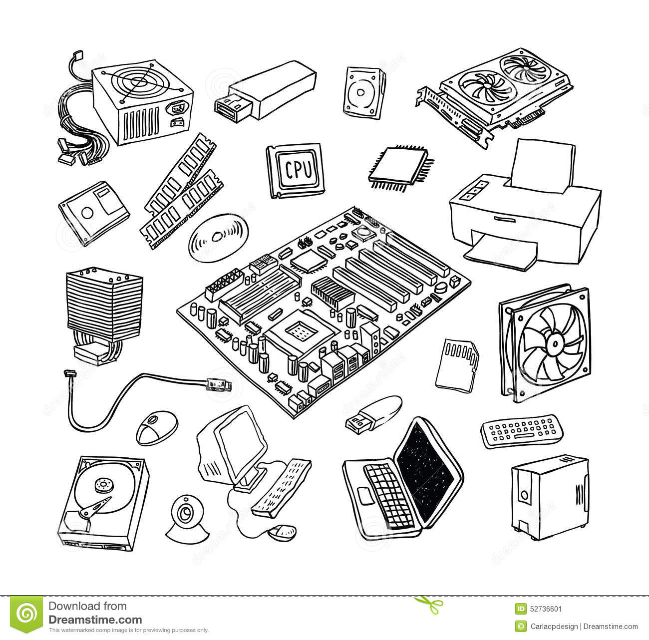 Computer Hardware Icons Pc Components Stock Vector