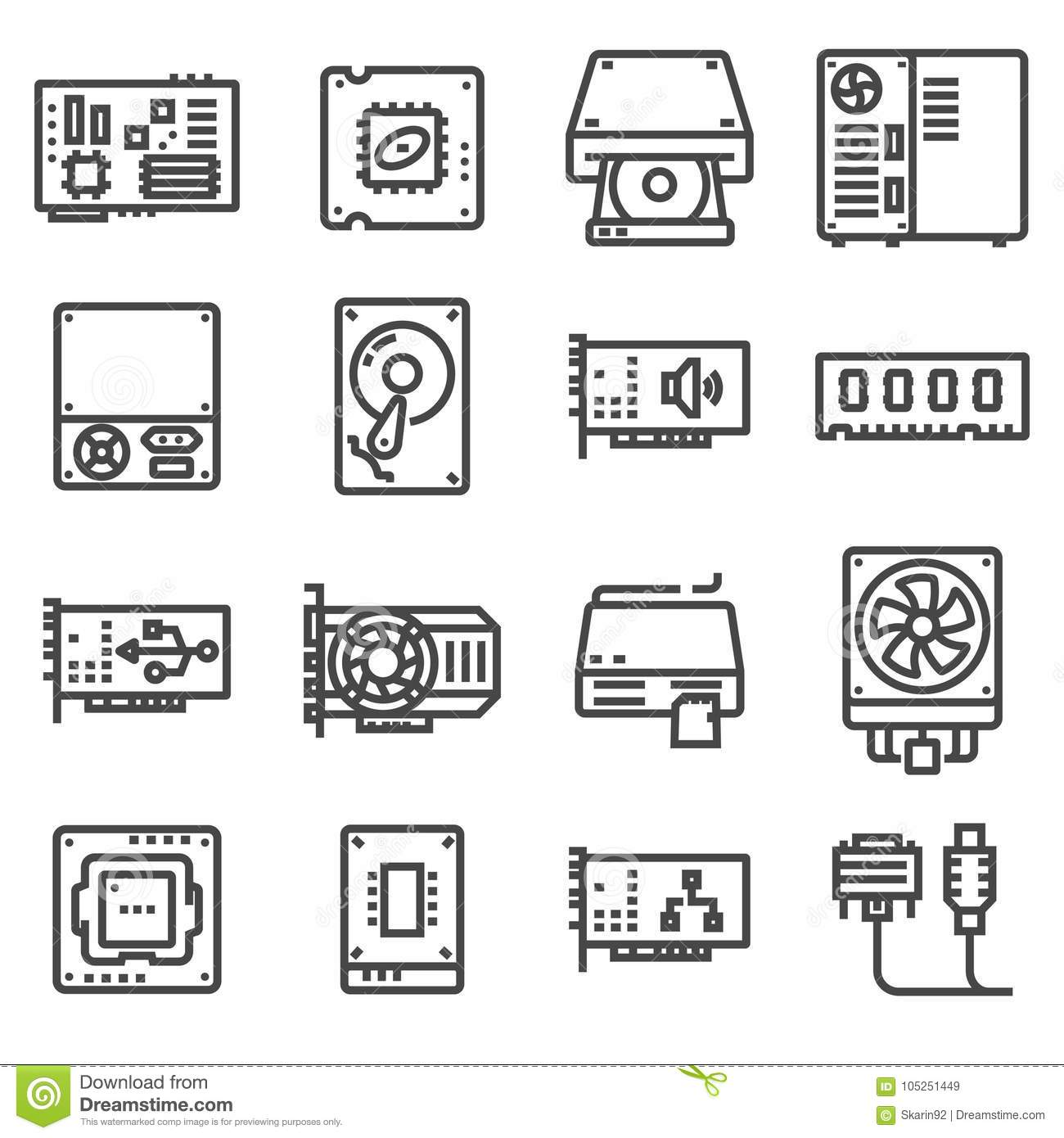 Computer Hardware Icons Pc Components Stock Illustration
