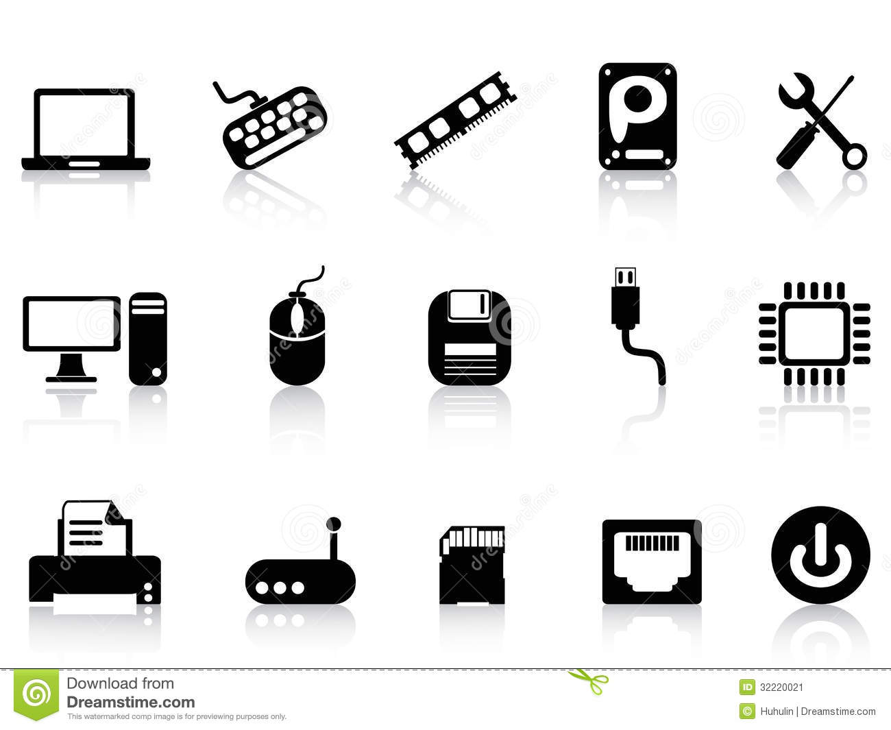 Computer Hardware Icons Set Stock Vector