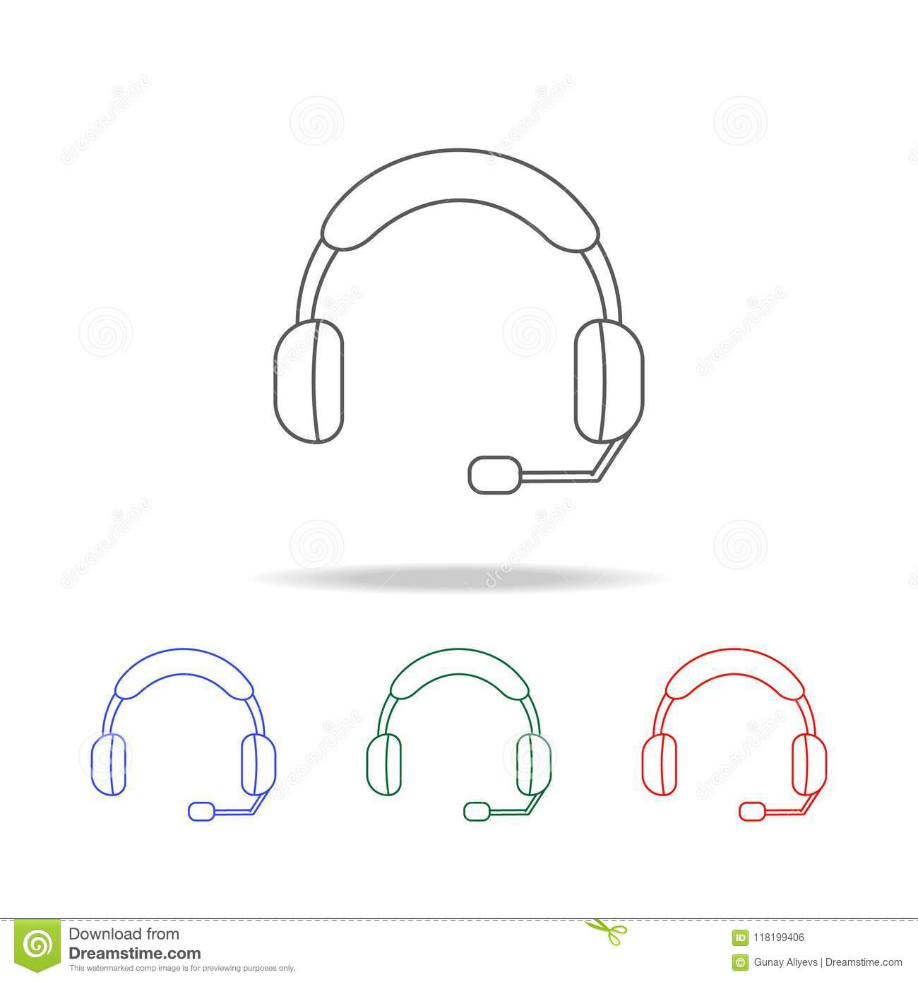Computer Headset With Microphone Icon Elements Of Game