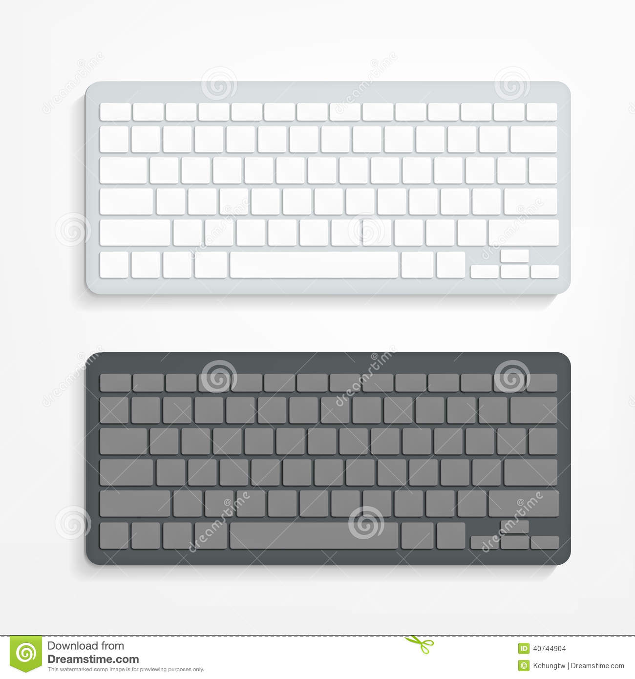 Computer Keyboard On White Background Stock Vector