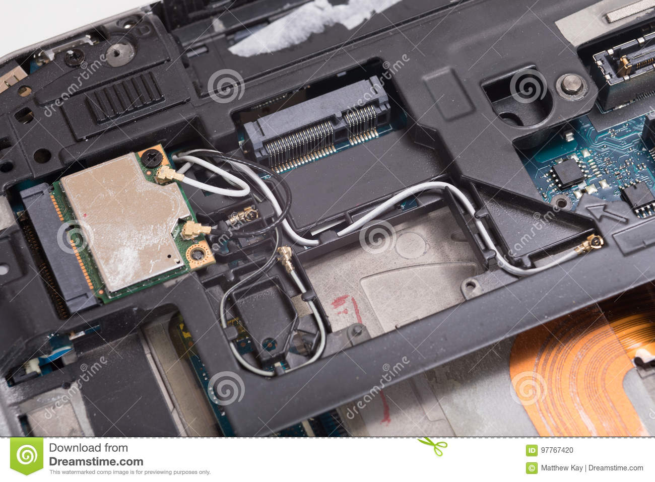 Computer Laptop Internal Wiring And Components Stock Photo