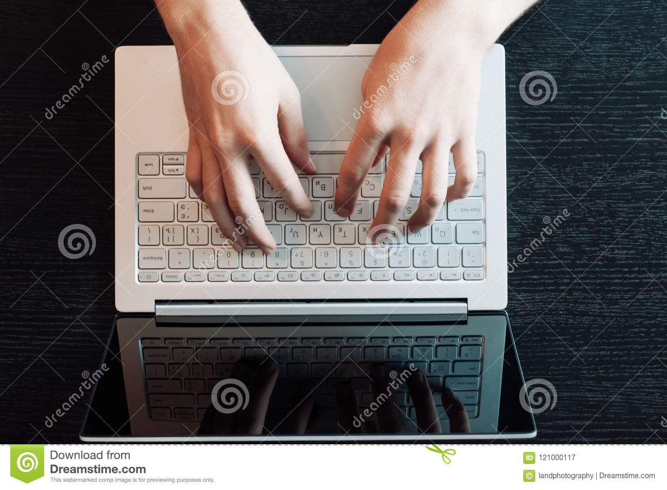 Computer Laptop Working Concept Hands Typing Keyboard