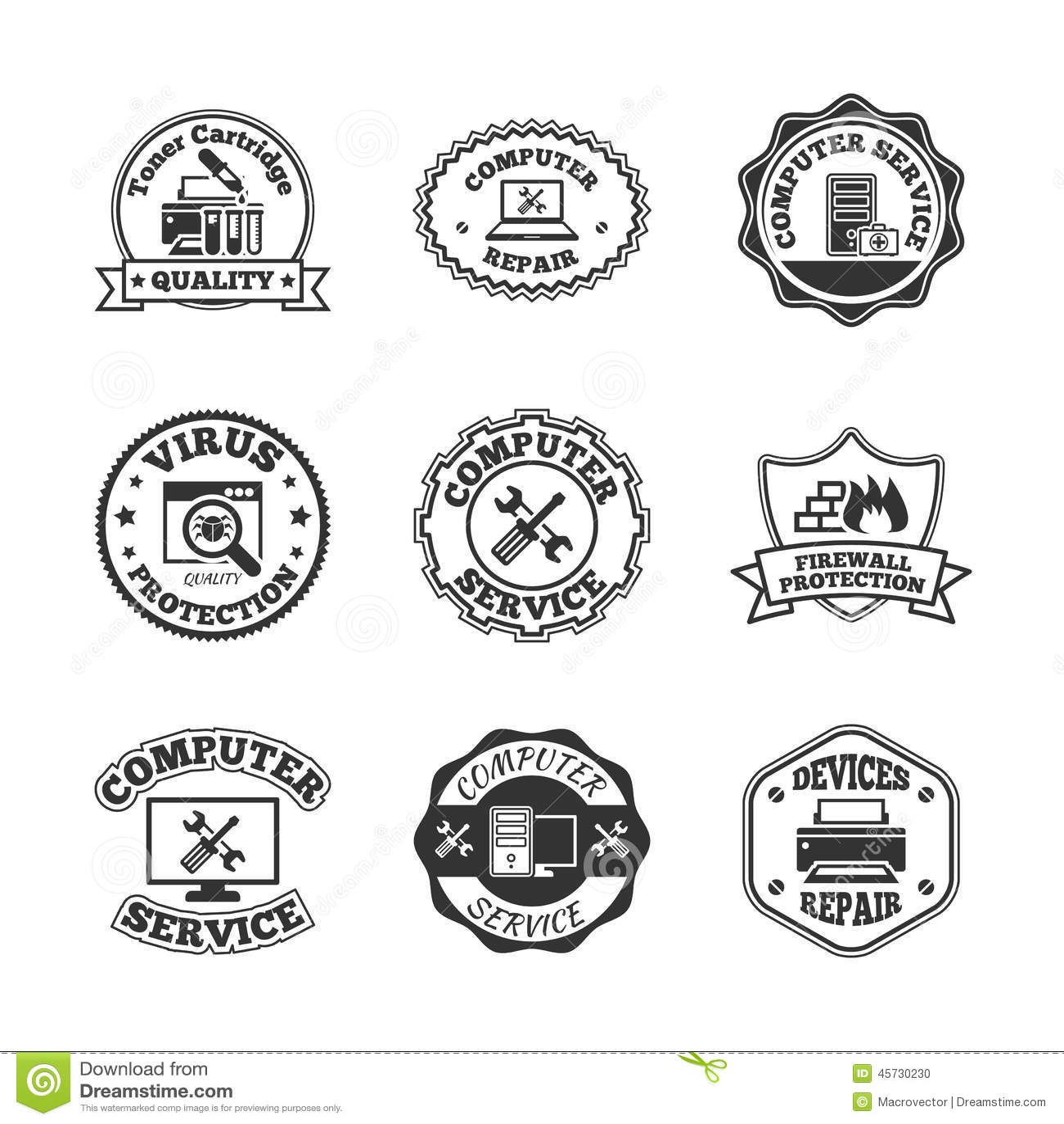 Computer Repair Labels Icons Set Stock Vector