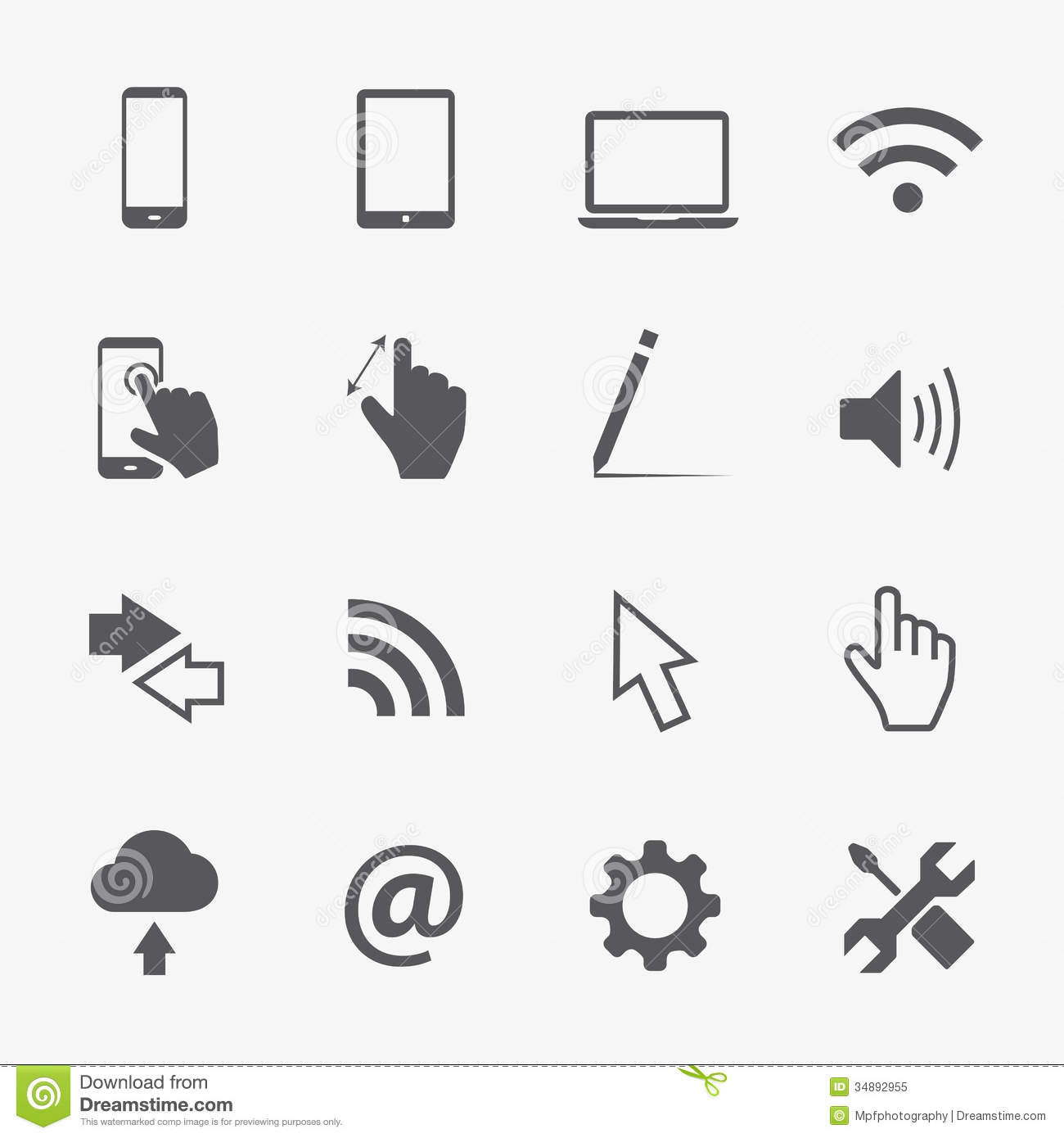 Computer Vector Icons Set Stock Vector Illustration Of