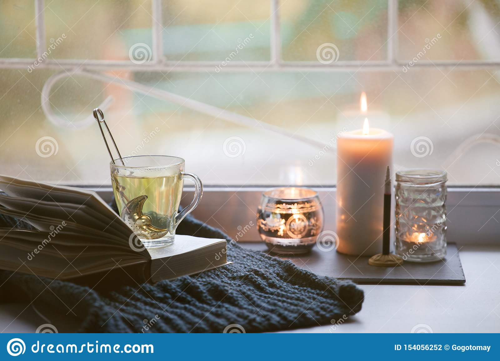 Concept Of Autumn Reading Time And Romantic Hygge Unplug