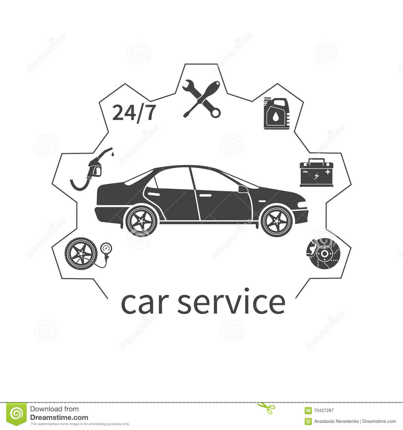 Concept Car Service Stock Vector Image Of Refueling