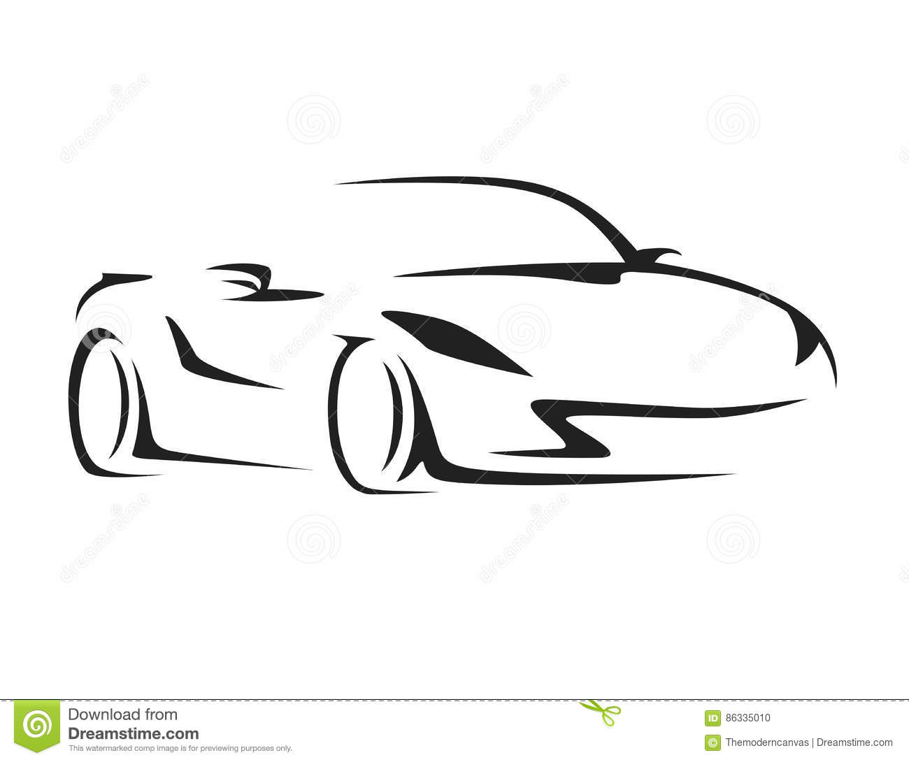 Concept Car With Supercar Sports Vehicle Silhouette
