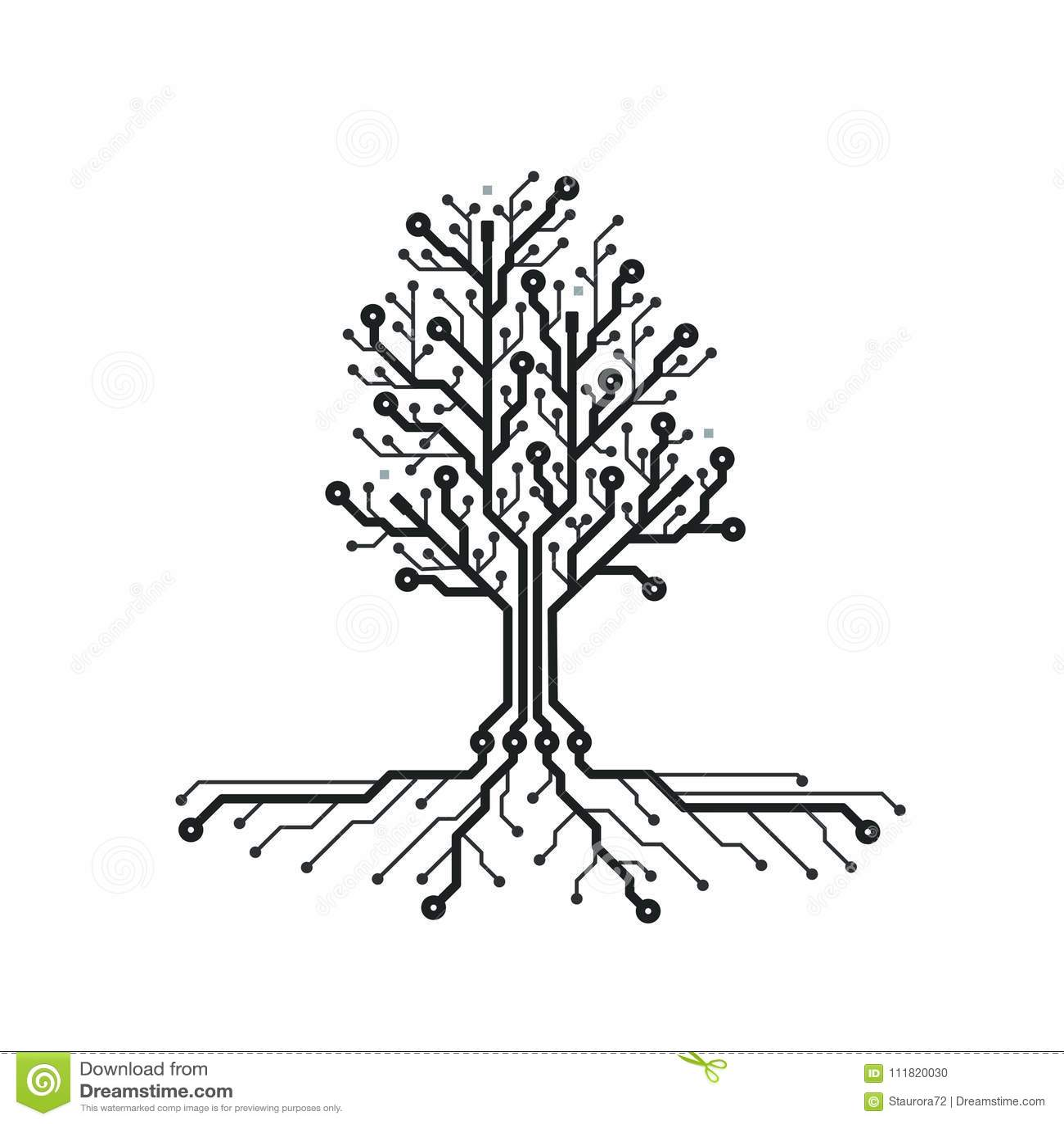 Concept Circuit Board Tree Futuristic Background With