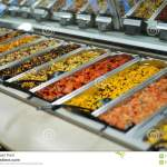 Concept Of Self Service Bar Or Restaurant With A Choice Of Different Types Of Fruit And Vegetable Salads Stock Photo Image Of Market Display 111942338