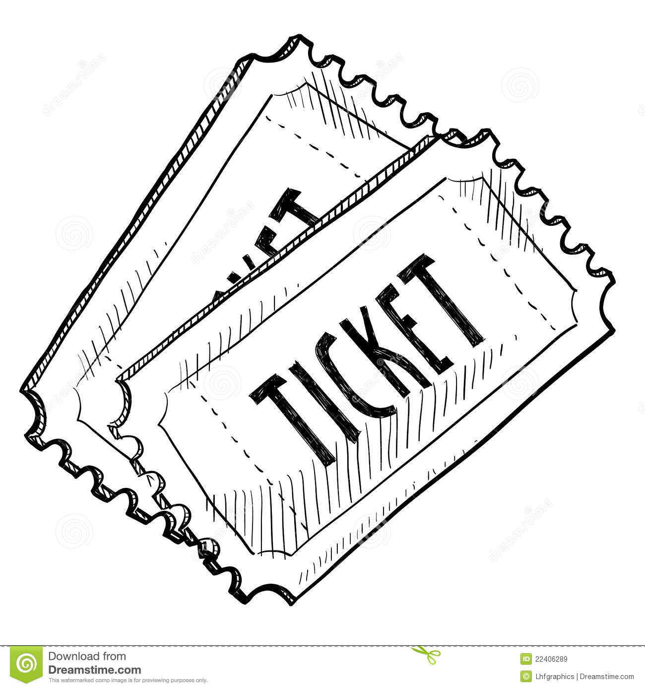 Concert Or Event Ticket Drawing Stock Vector