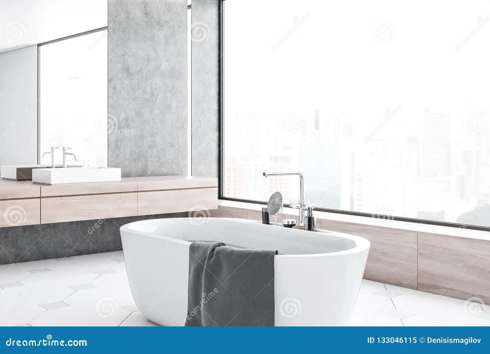 Concrete Bathroom Corner White Tub And Sink Stock