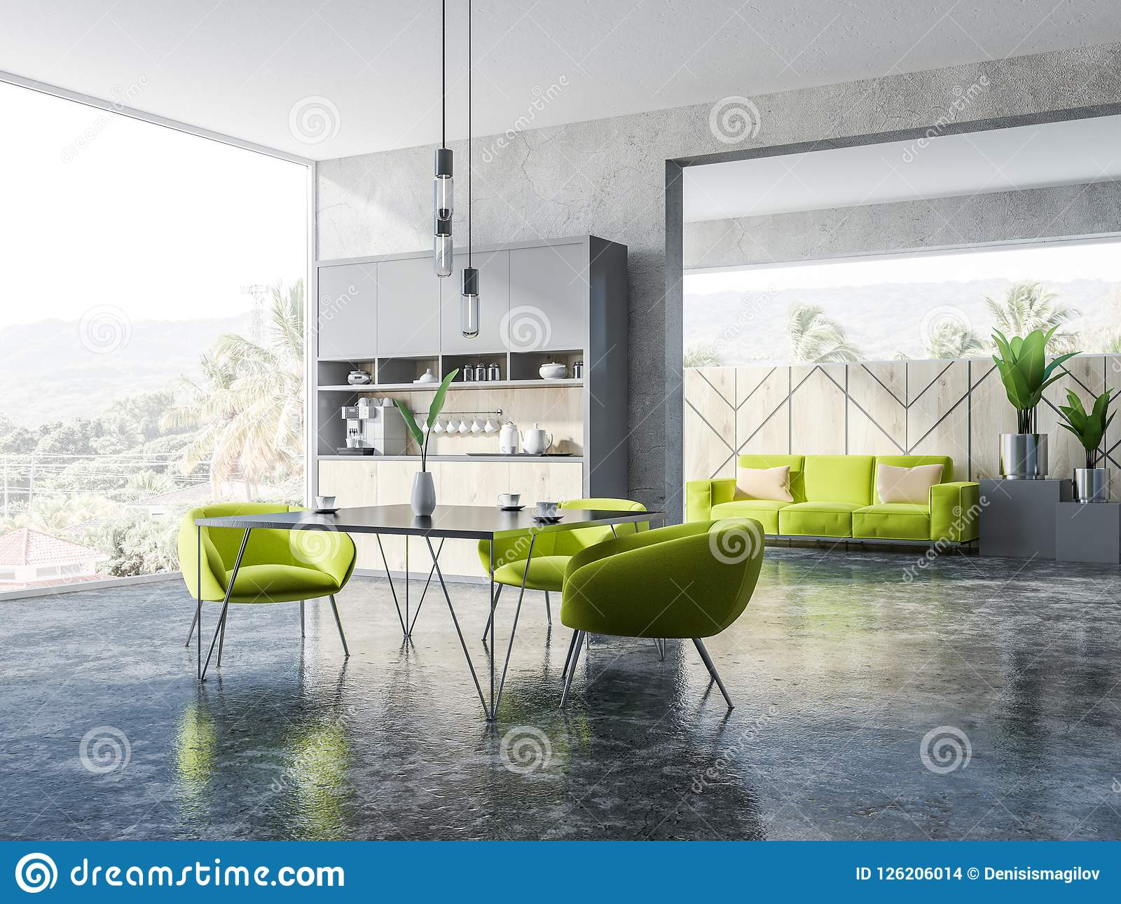 Concrete And Wooden Dining Room Green Armchairs Stock Illustration Illustration Of Armchair Nature 126206014
