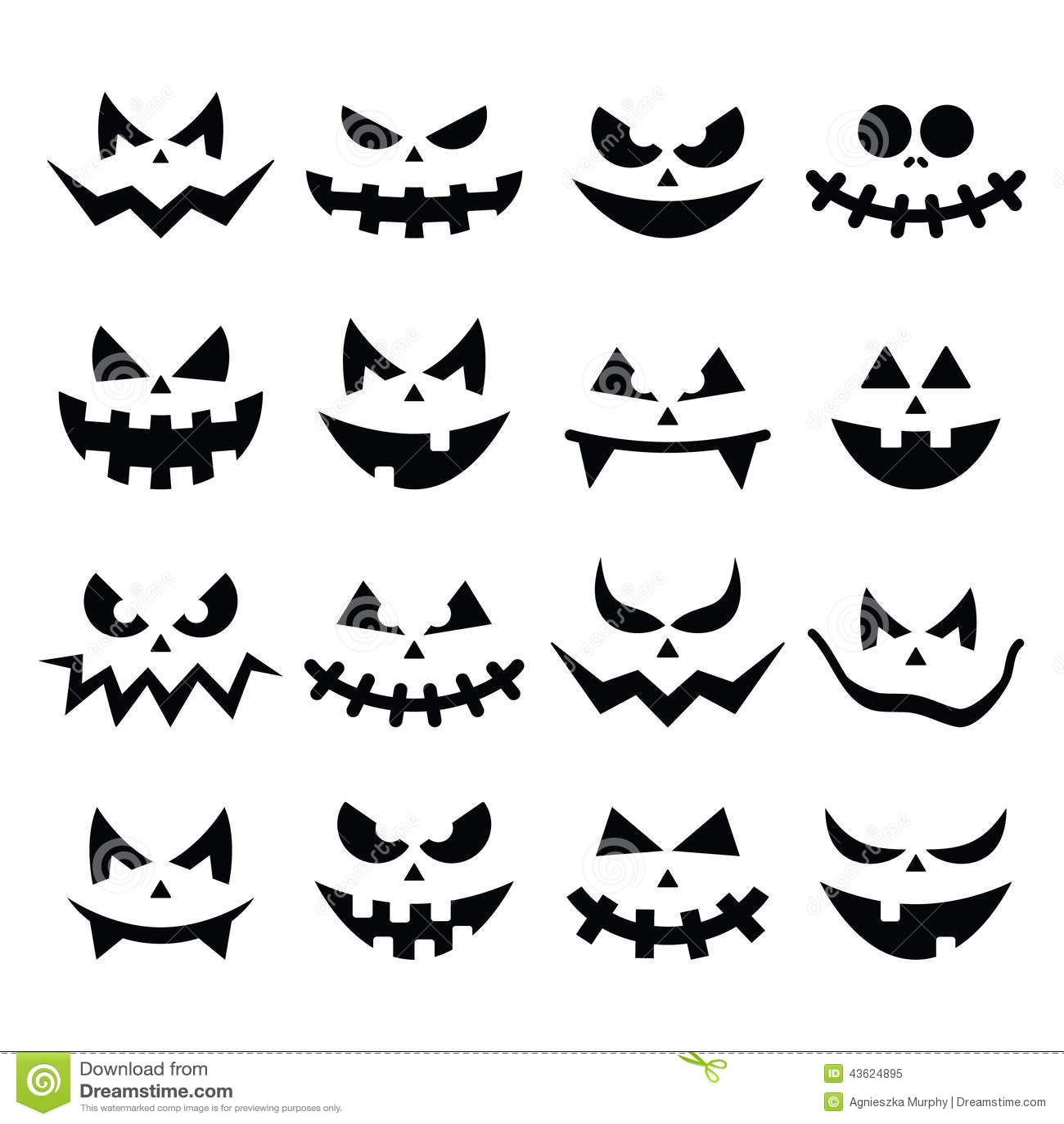 Icones Assustadores Das Caras Da Abobora De Dia Das Bruxas