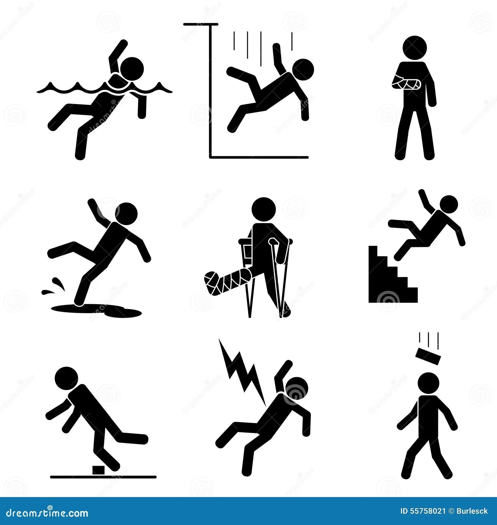 Icones Da Seguranca E Do Acidente Ilustracao Do Vetor