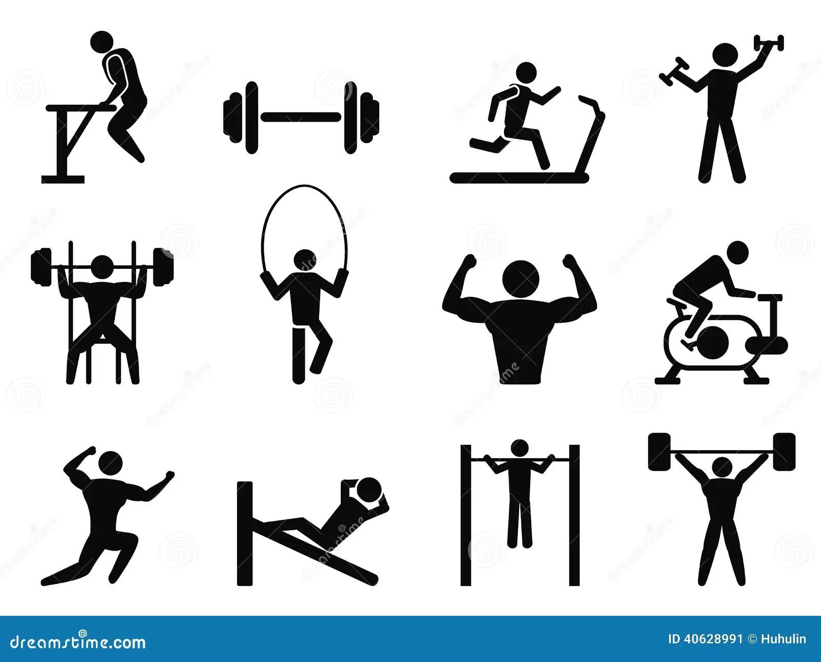 Icones Do Ginasio E Do Body Building Ilustracao Do Vetor